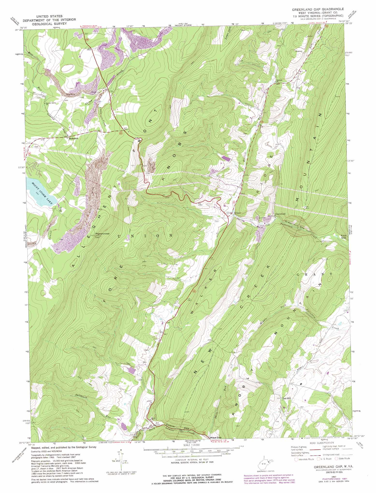 Greenland Gap topographic map, WV - USGS Topo Quad 39079b2