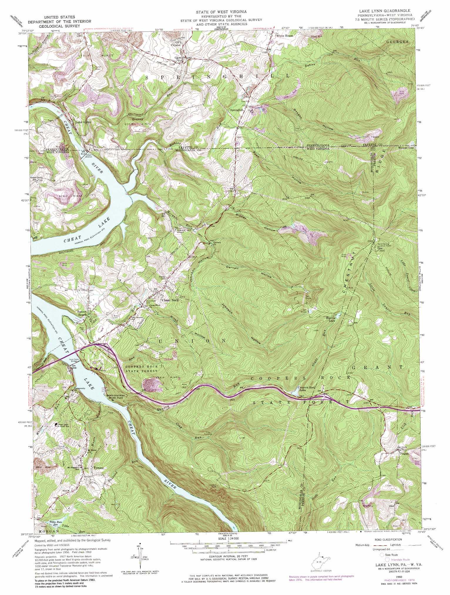 Picture of: Lake Lynn Topographic Map Wv Pa Usgs Topo Quad 39079f7