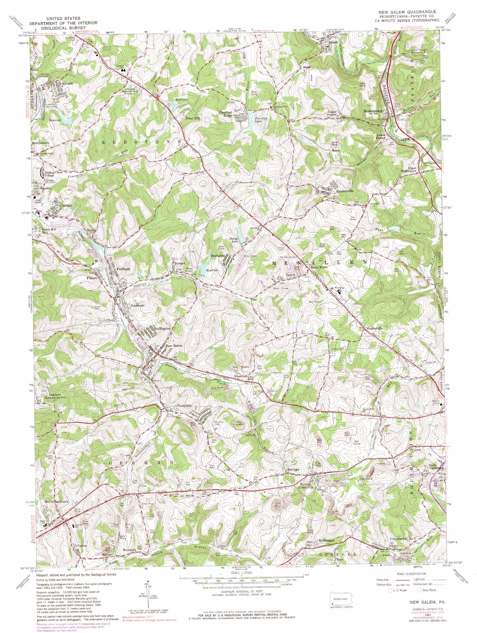 New Salem Topographic Map PA  USGS Topo Quad 39079h7