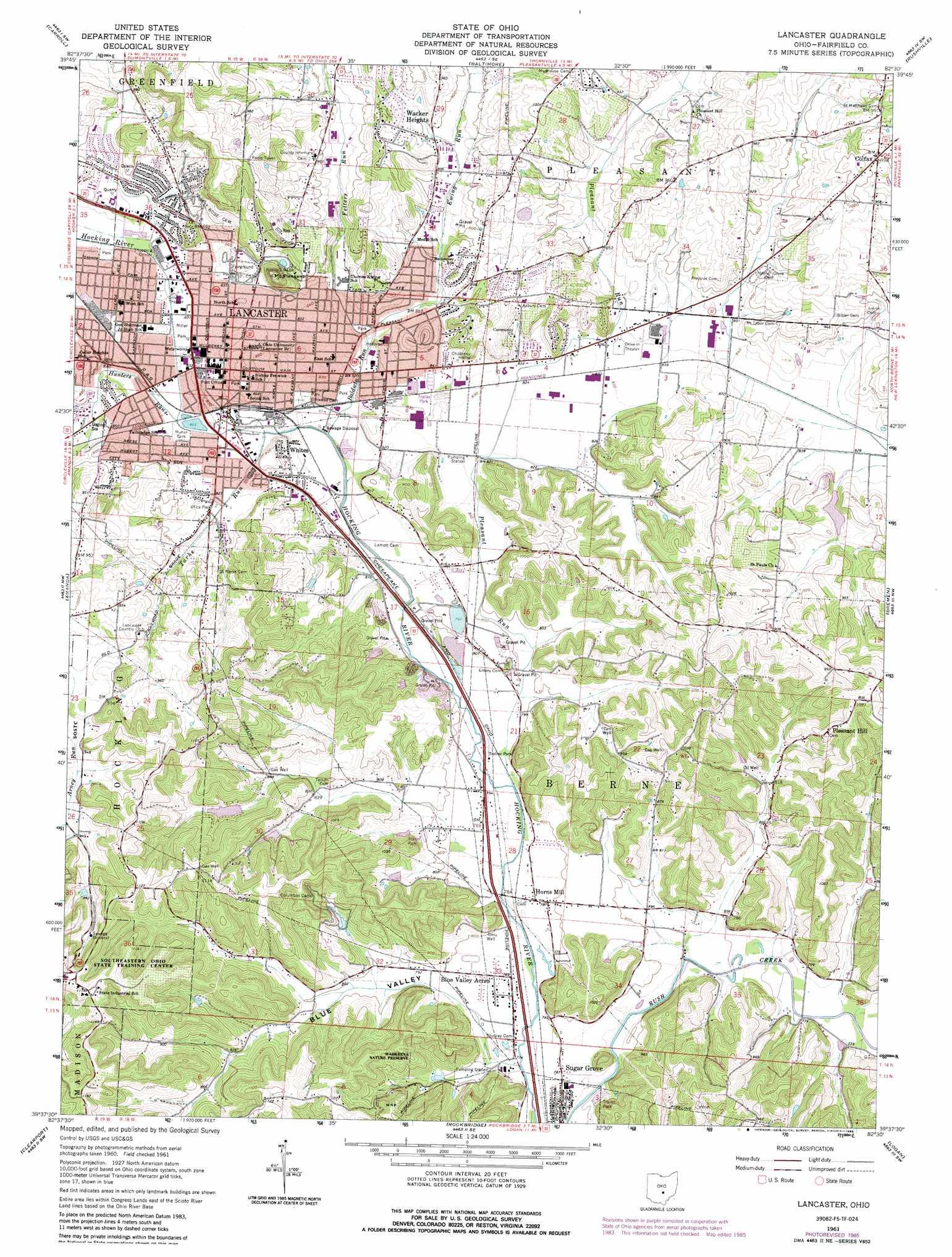 Lancaster Topographic Map OH  USGS Topo Quad 39082f5
