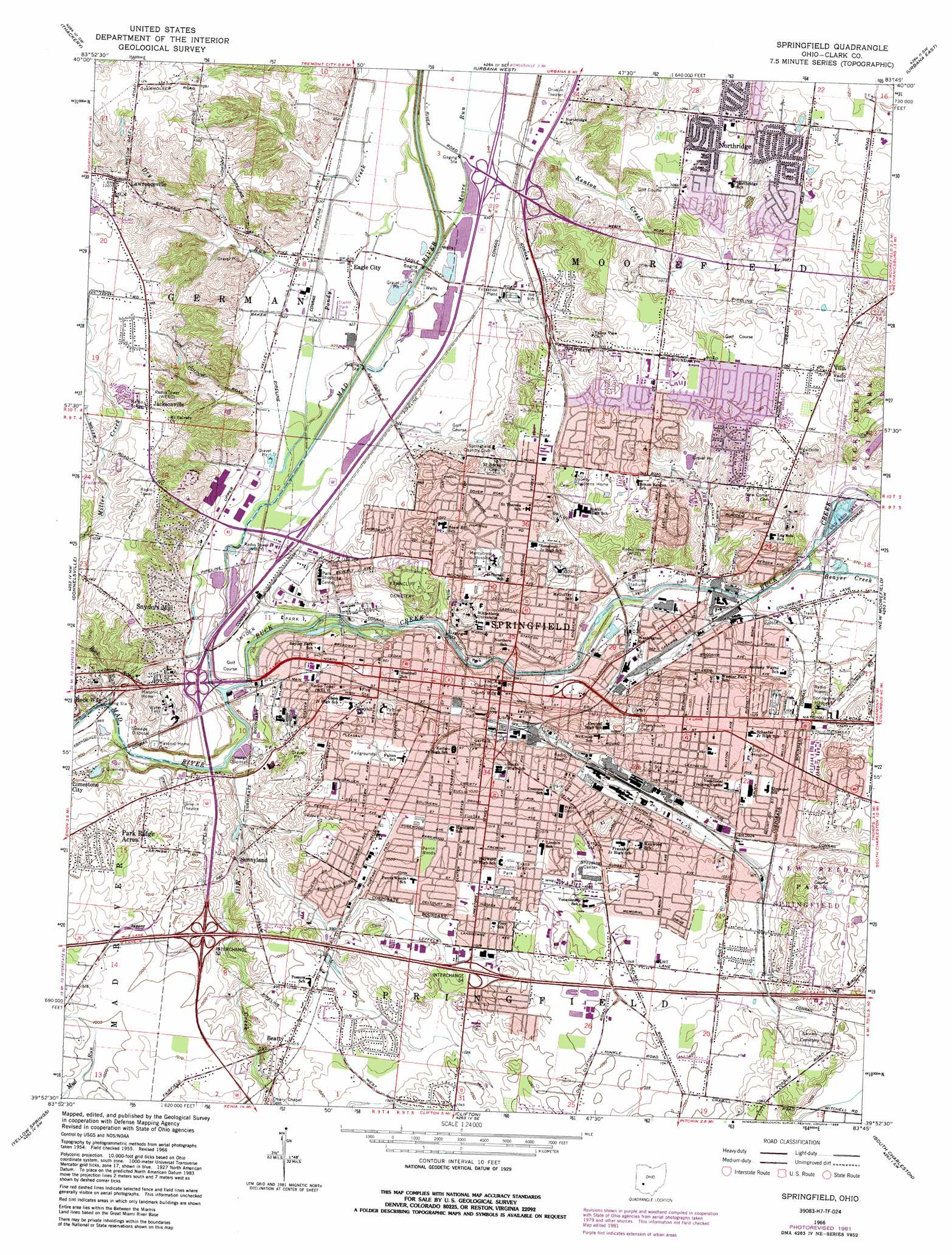 Springfield Topographic Map OH  USGS Topo Quad 39083h7