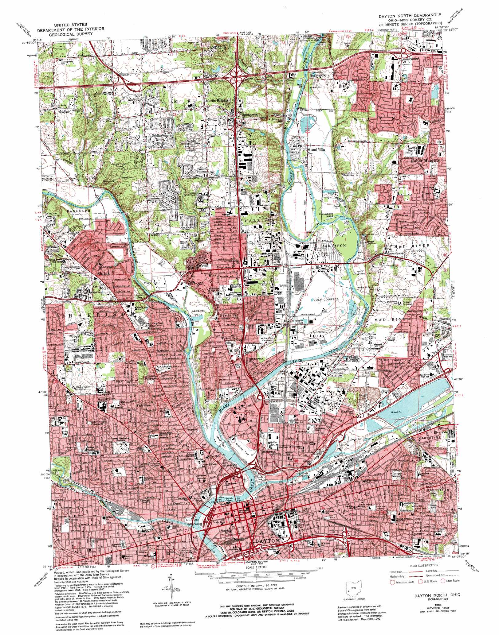 Dayton North topographic map OH USGS Topo Quad 39084g2