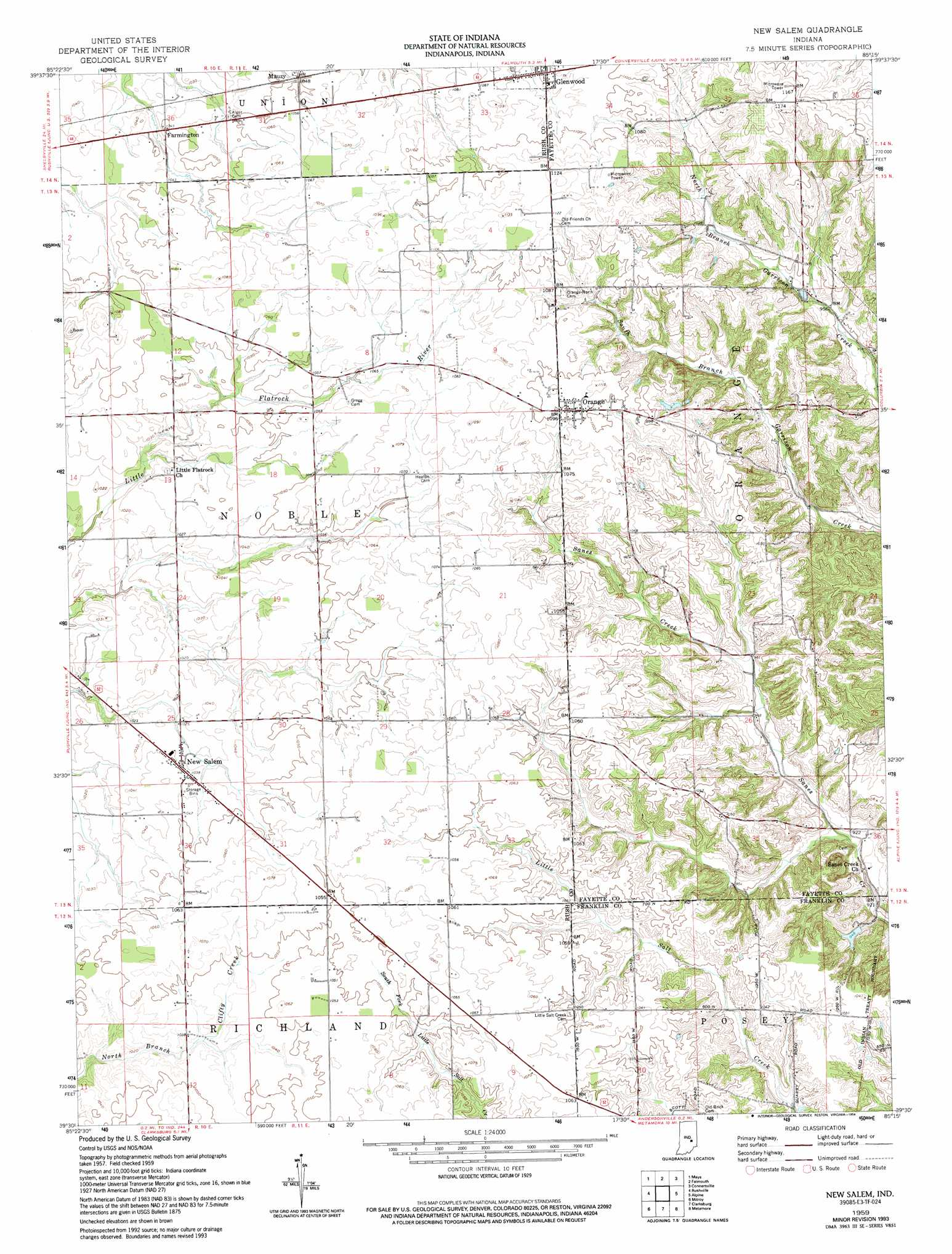 New Salem Topographic Map IN  USGS Topo Quad 39085e3