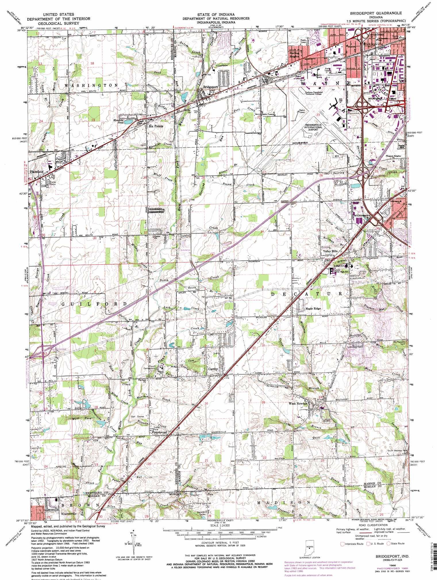 Bridgeport Topographic Map IN  USGS Topo Quad 39086f3