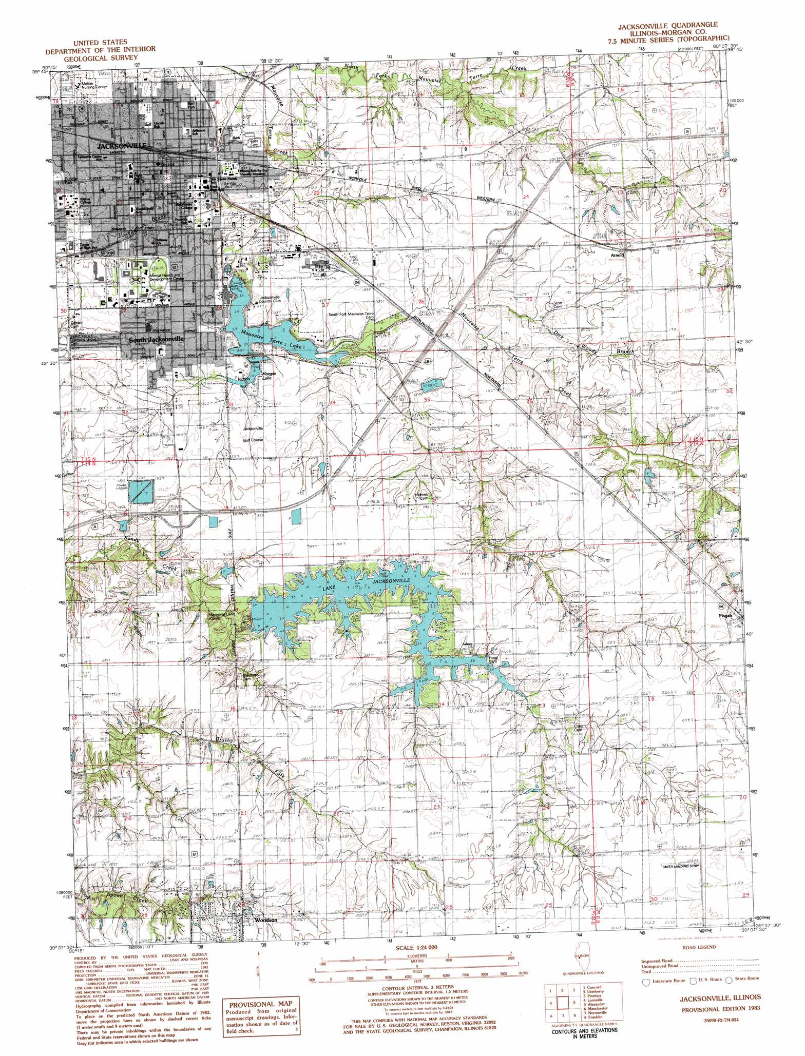 jacksonville topographic map il usgs topo quad 39090f2. Black Bedroom Furniture Sets. Home Design Ideas