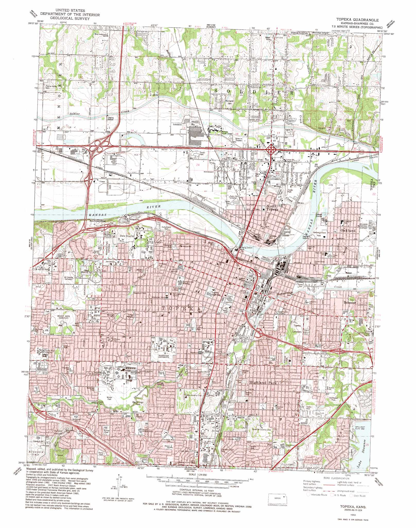 Topeka Topographic Map KS  USGS Topo Quad 39095a6