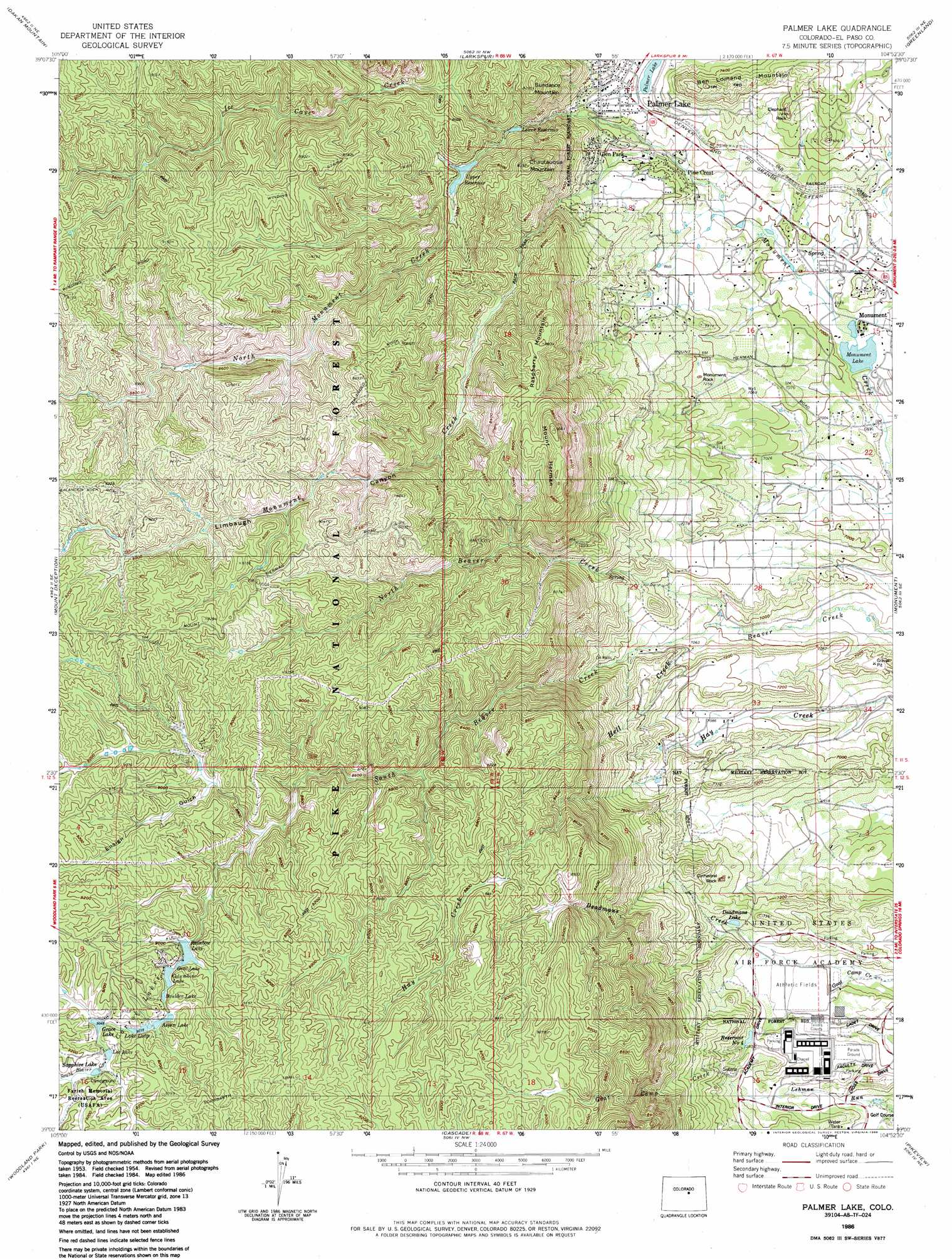 Palmer Lake Topographic Map Co Usgs Topo Quad 39104a8