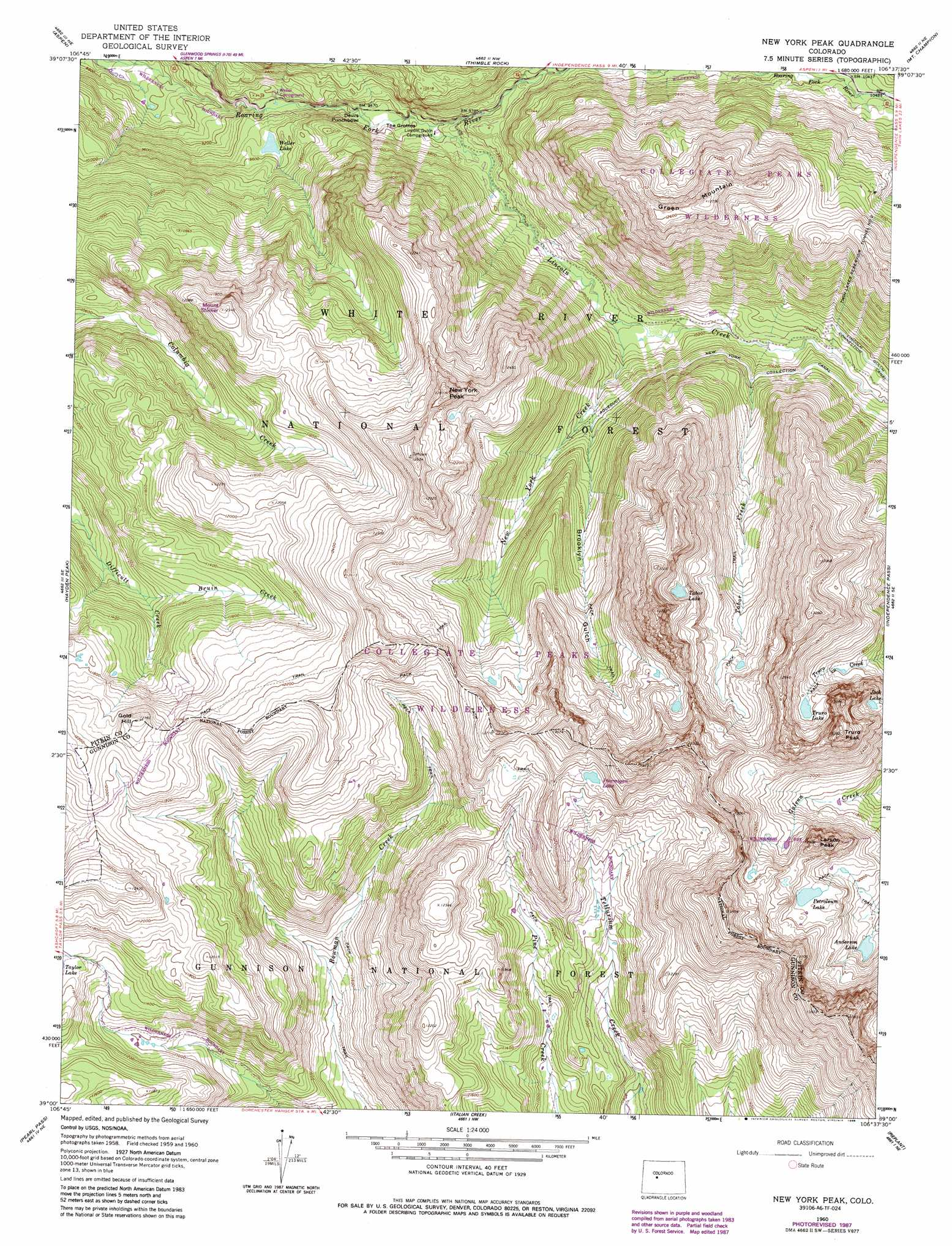 New York Peak Topographic Map CO USGS Topo Quad A - Nyc map topographic