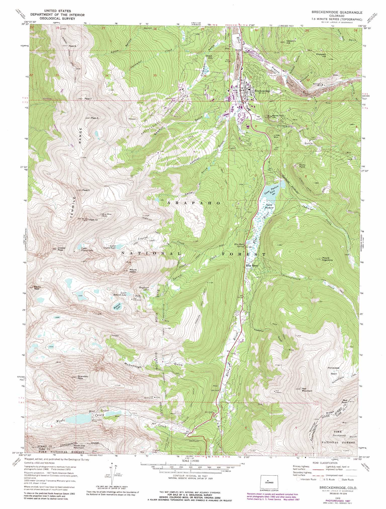 Breckenridge topographic map, CO - USGS Topo Quad 39106d1