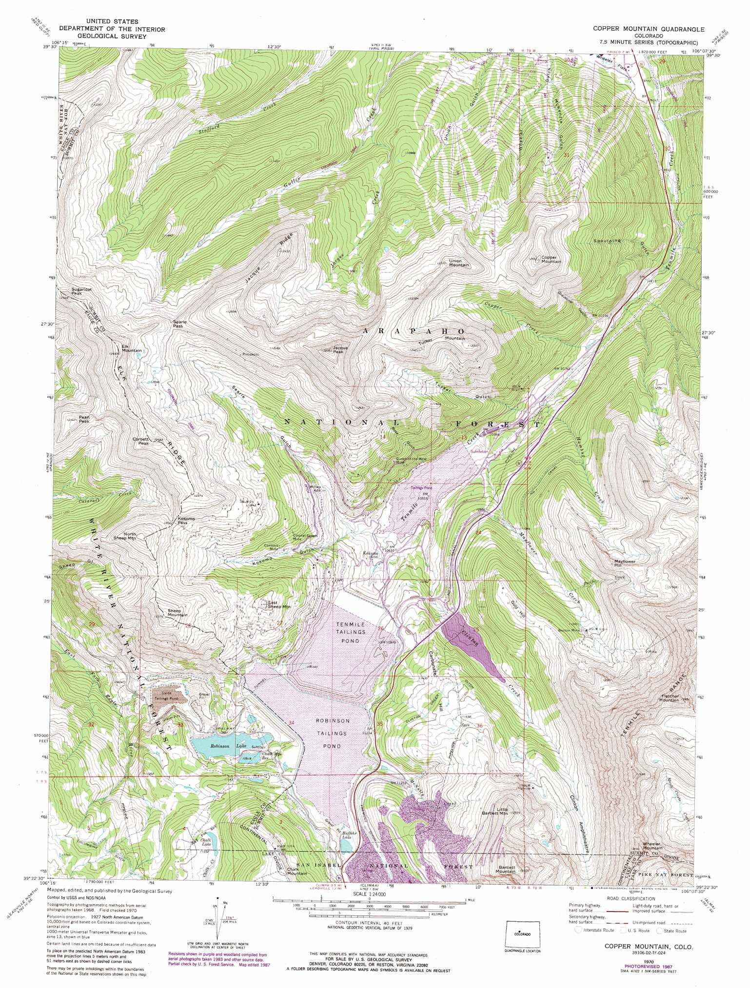 Copper Mountain Topographic Map CO USGS Topo Quad D - Topographic map of colorado