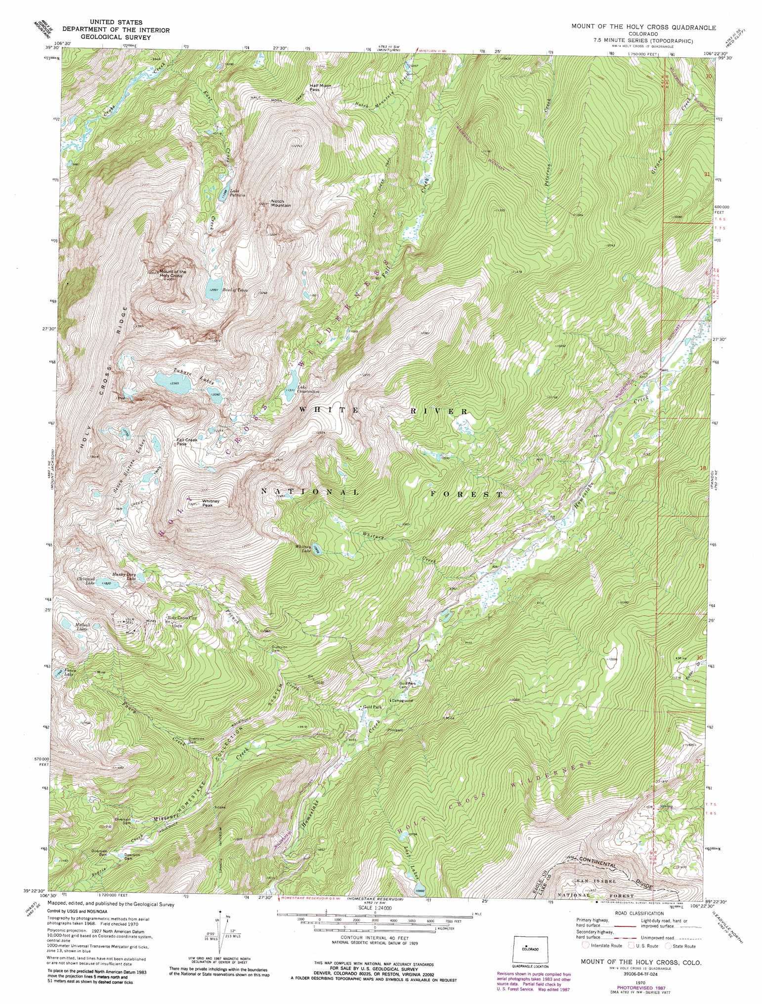 Mount Of The Holy Cross topographic map, CO - USGS Topo Quad 39106d4