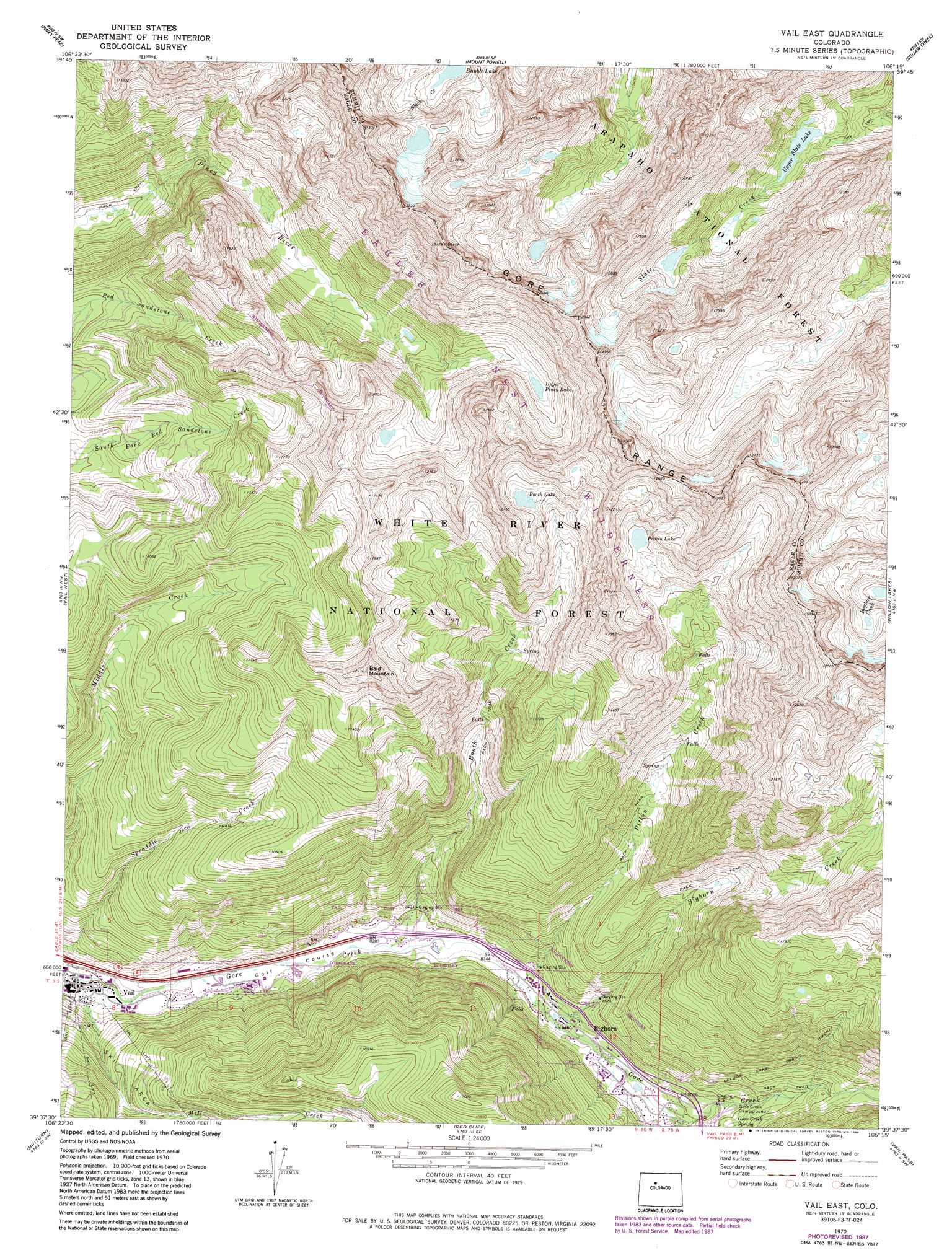 Vail East Topographic Map CO USGS Topo Quad F - Us forest service topographic maps