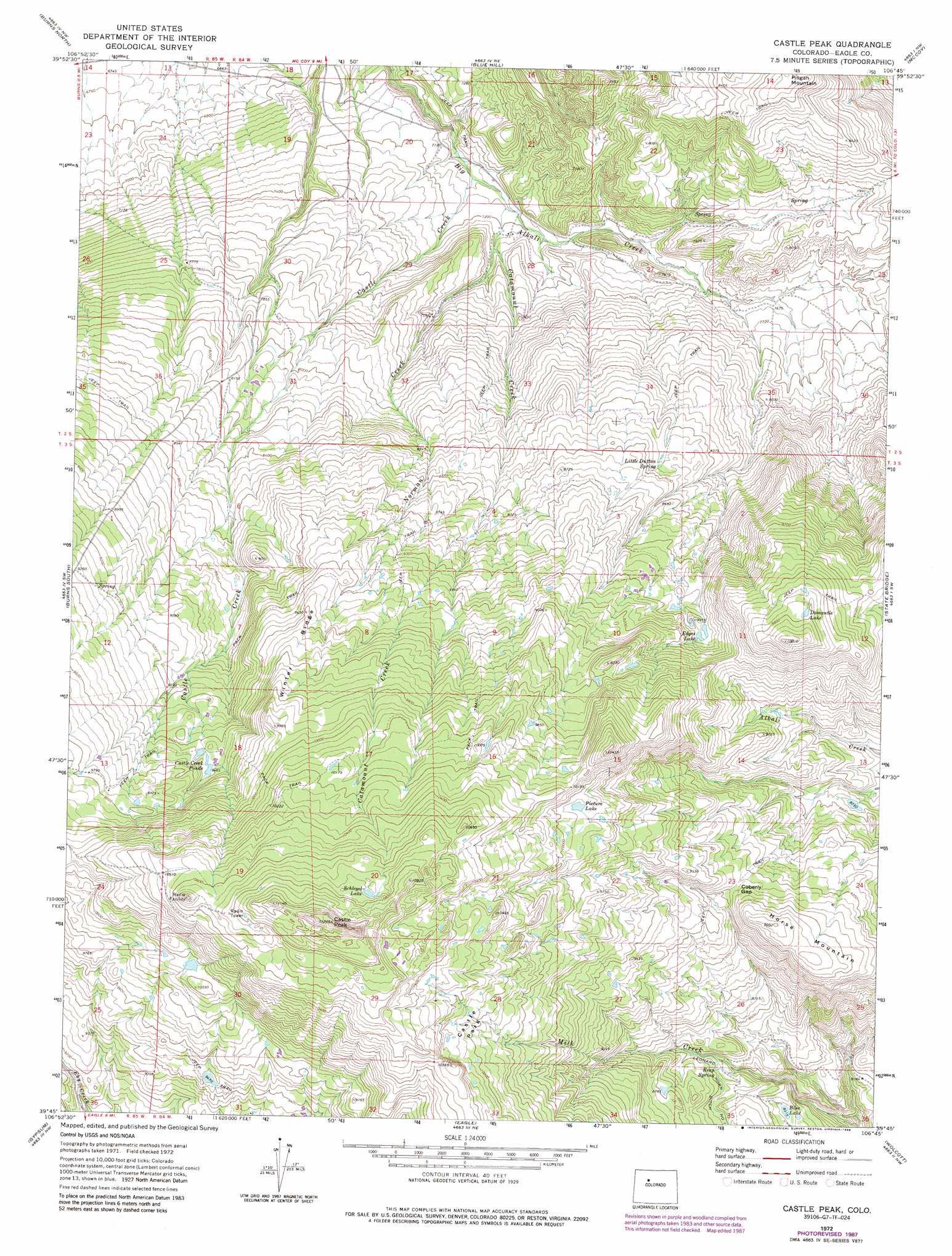 Castle Peak topographic map, CO - USGS Topo Quad 39106g7 on