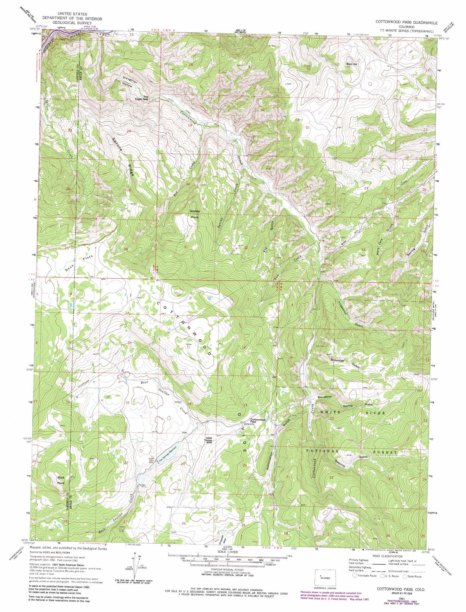 Cottonwood Pass topographic map, CO   USGS Topo Quad 39107e1