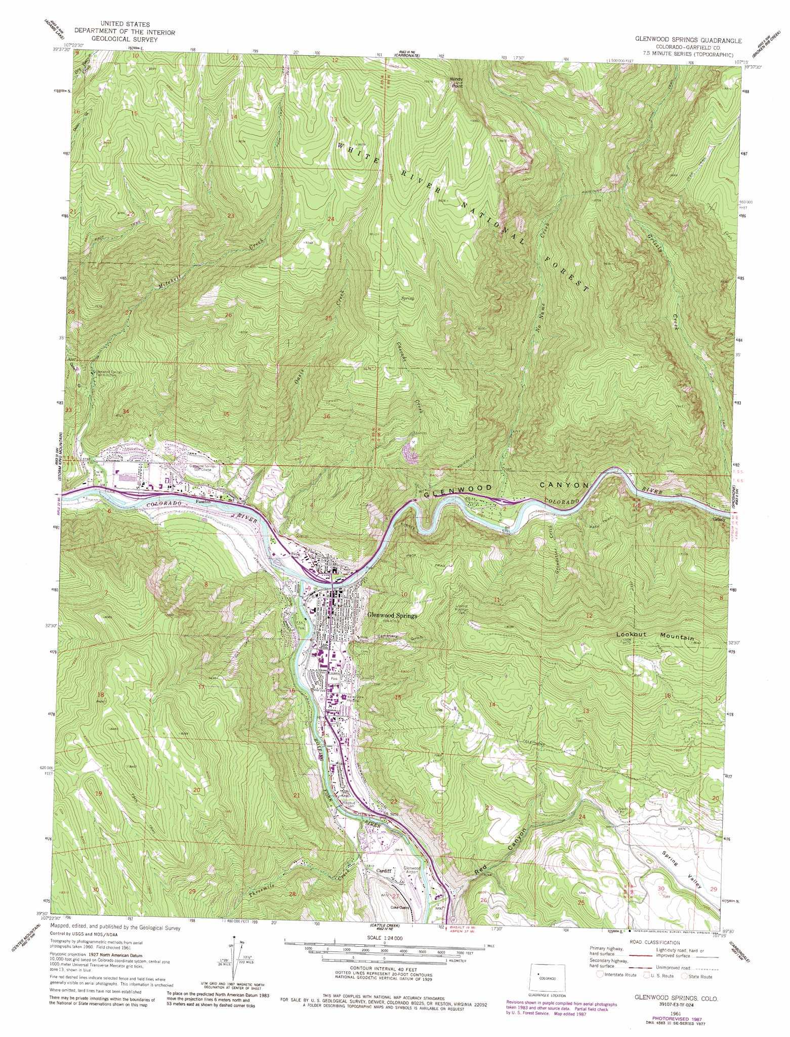 Glenwood Springs topographic map, CO - USGS Topo Quad 39107e3