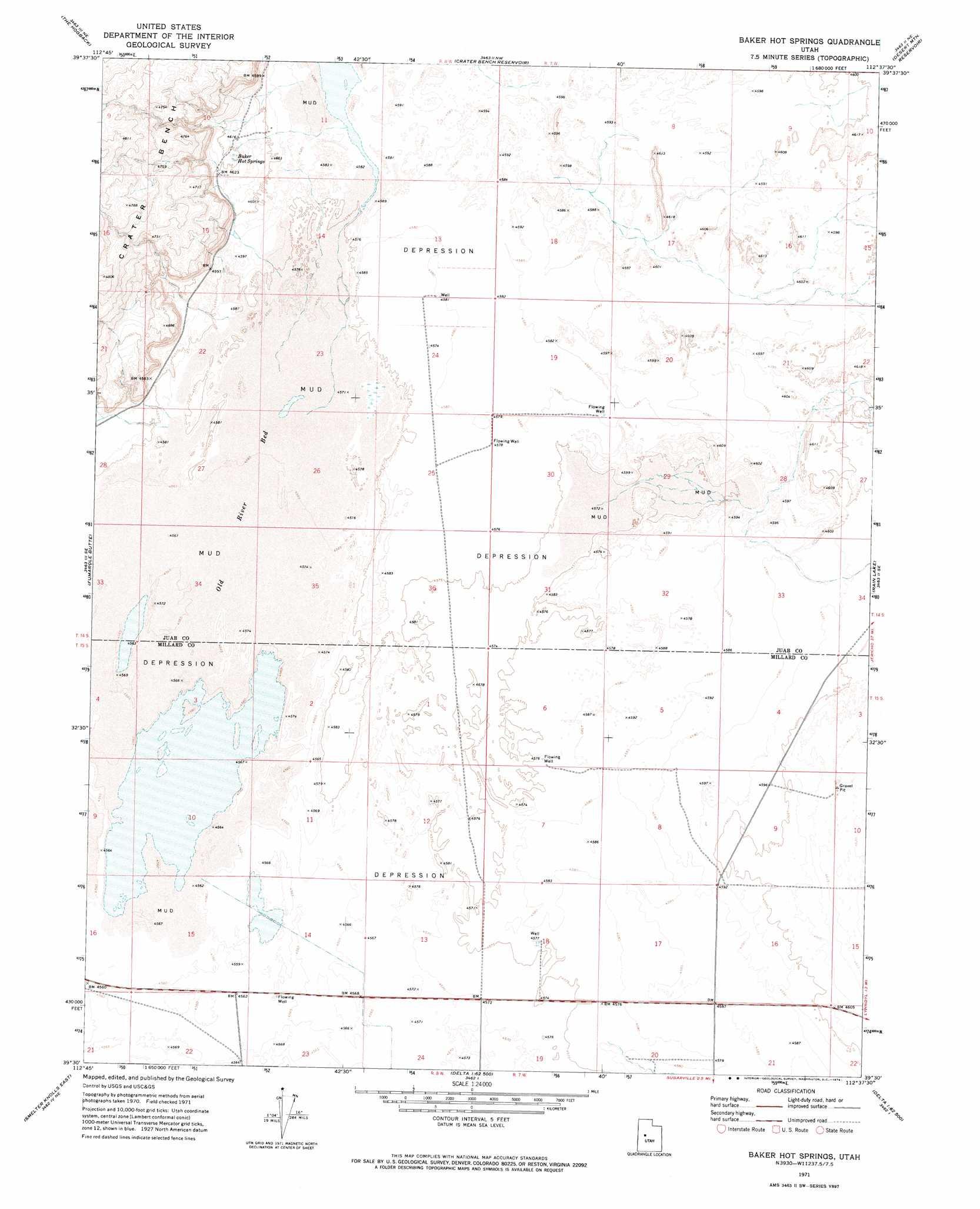 Baker Hot Springs topographic map, UT - USGS Topo Quad 39112e6