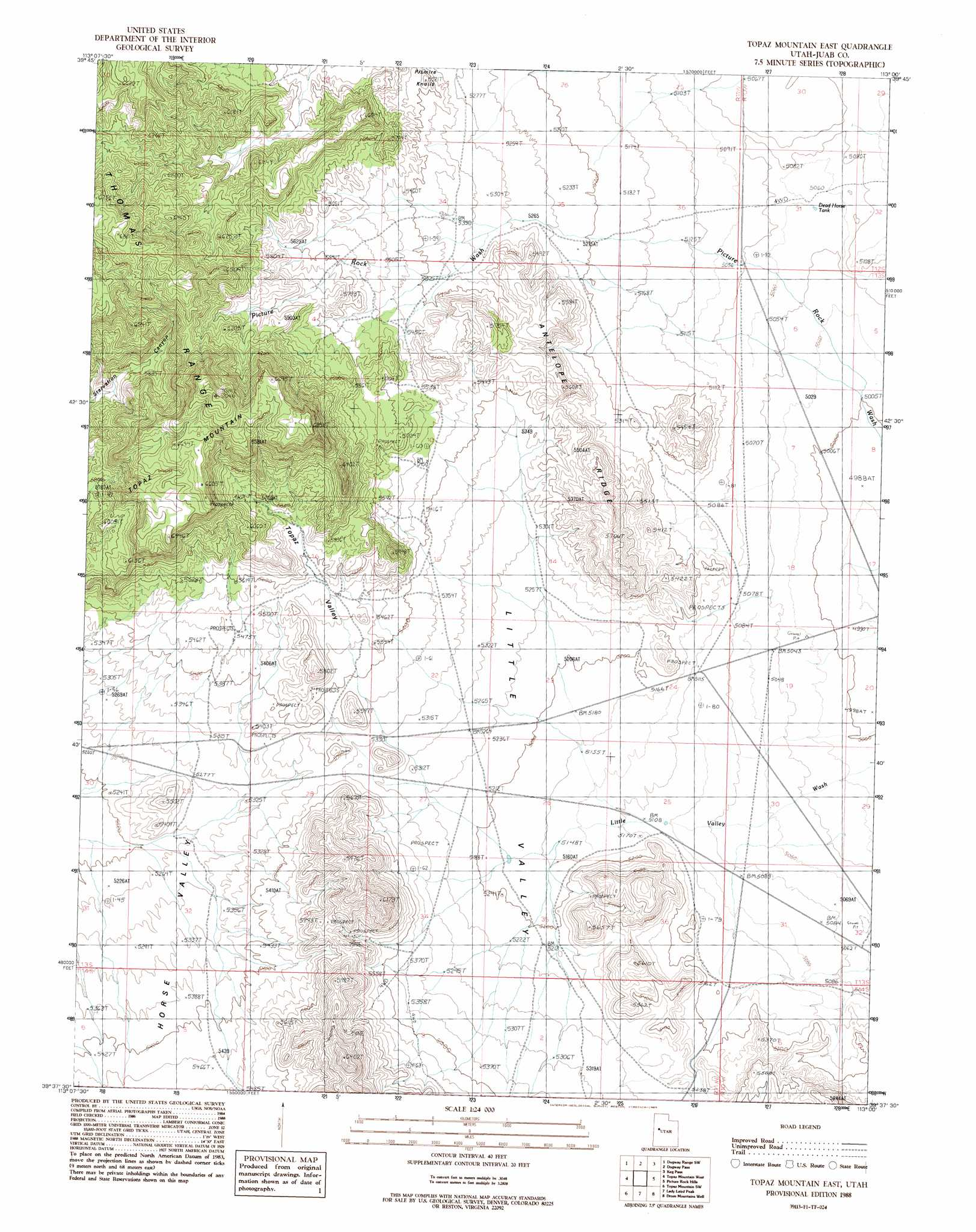 Topaz Mountain Utah Map.Topaz Mountain East Topographic Map Ut Usgs Topo Quad 39113f1