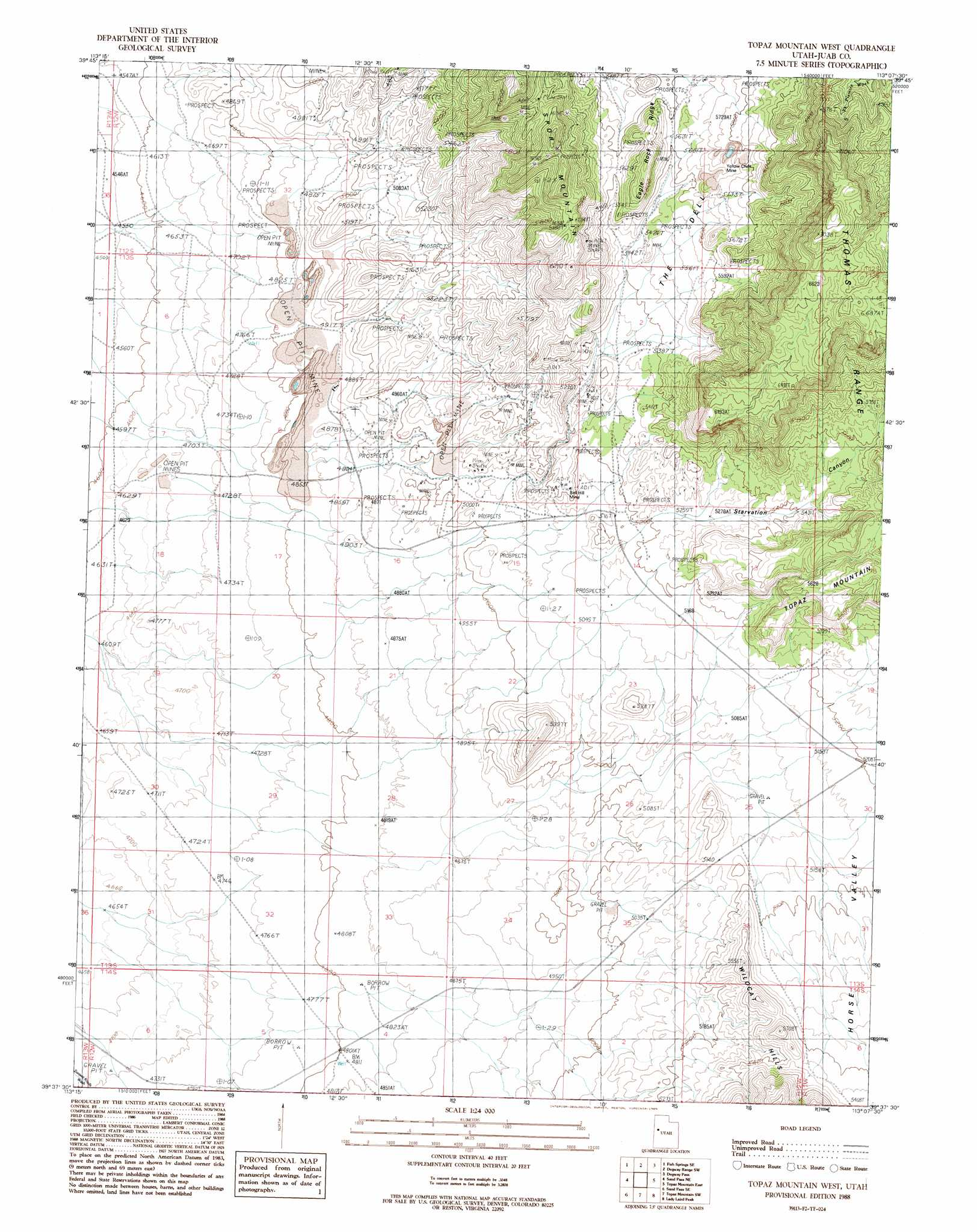 Topaz Mountain Utah Map.Topaz Mountain West Topographic Map Ut Usgs Topo Quad 39113f2