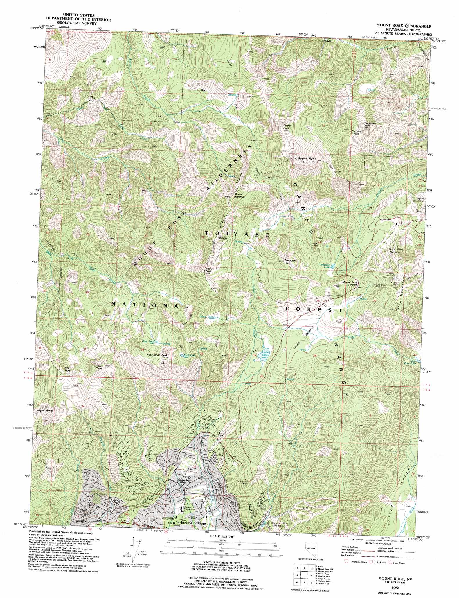 Mount Rose Topographic Map NV USGS Topo Quad C - Us geological topographic maps