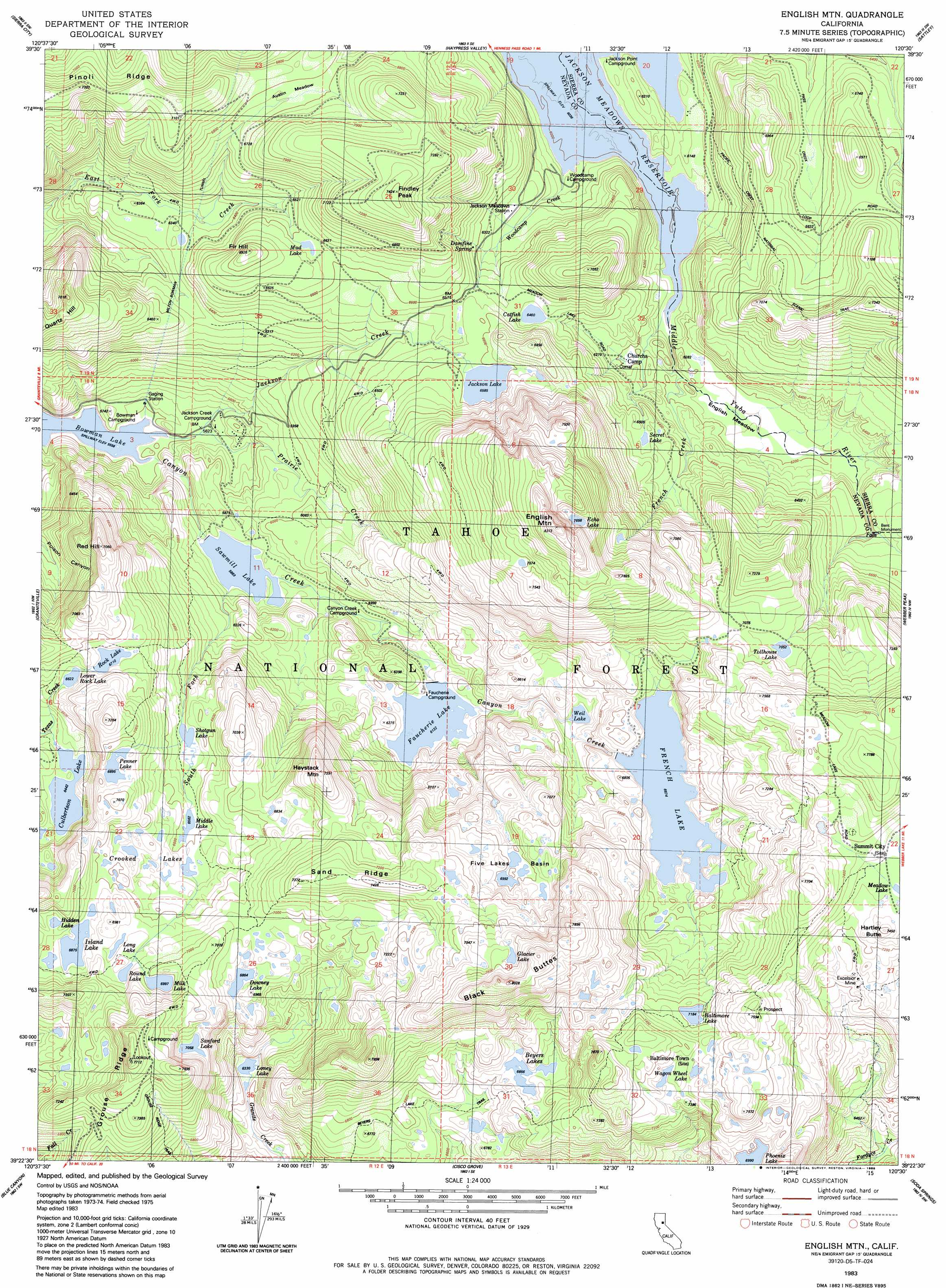 English Mountain Topographic Map, CA