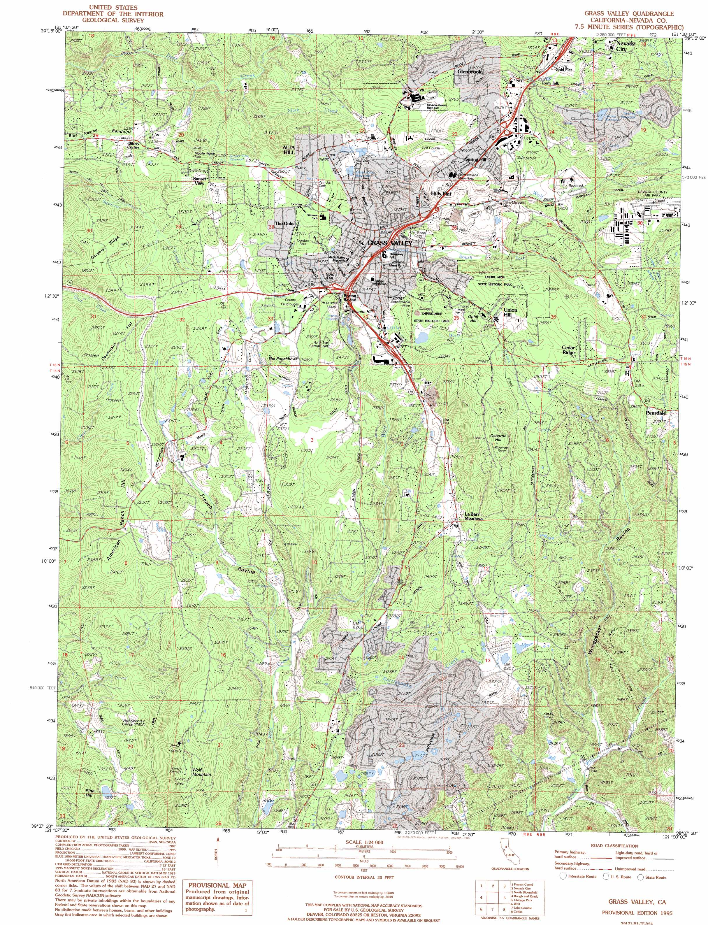 Grass Valley Topographic Map CA USGS Topo Quad B - Where to buy us topo maps