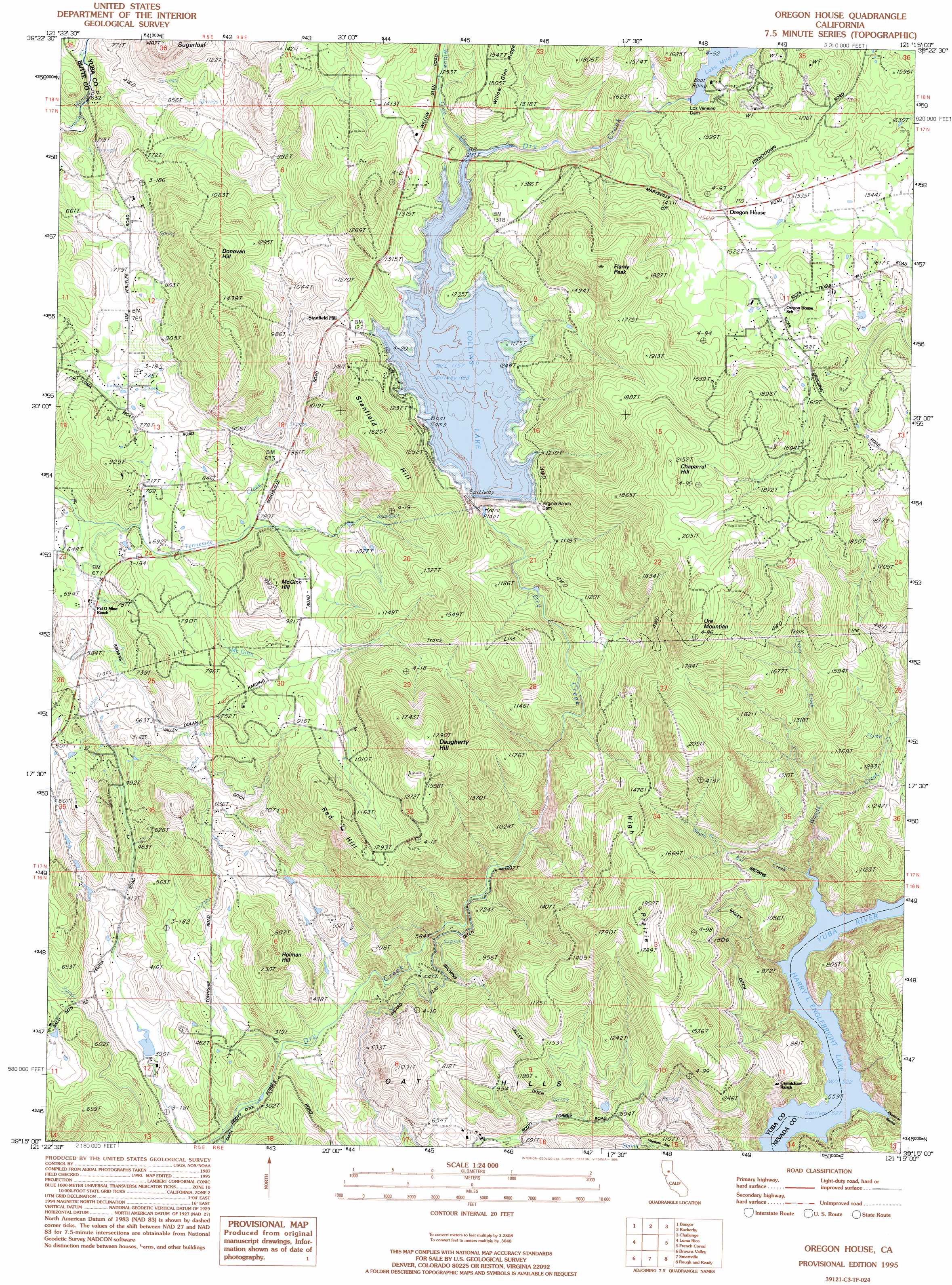 Oregon House Topographic Map CA USGS Topo Quad C - Topographical map of oregon