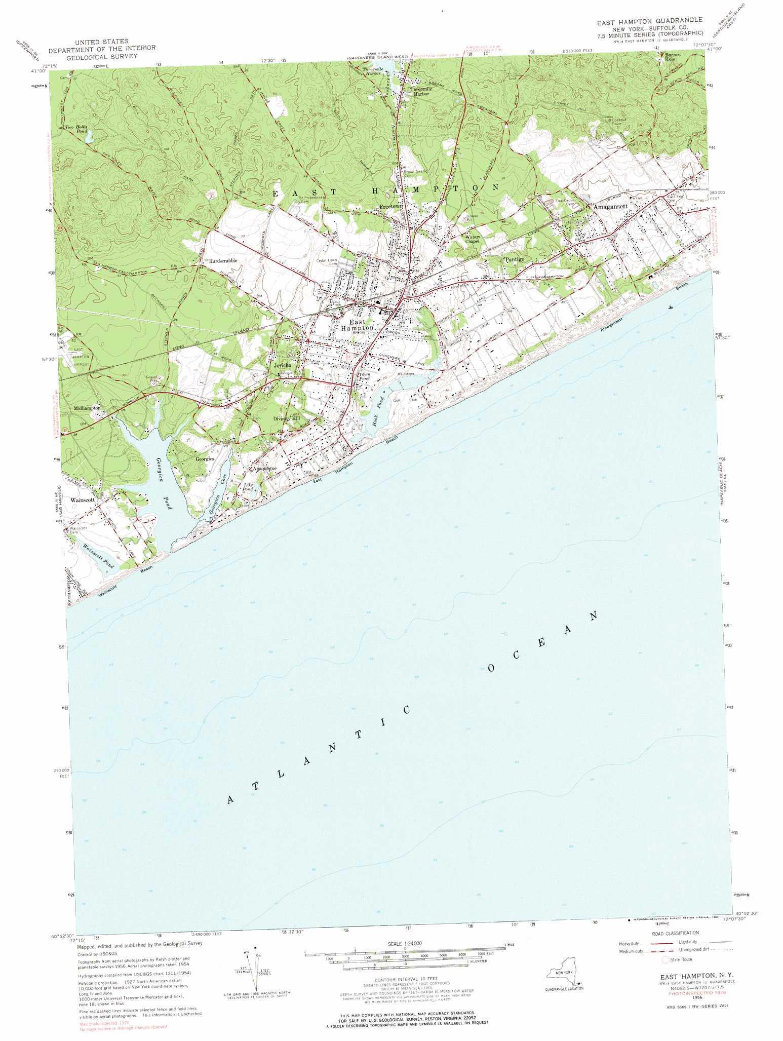 East Hampton Topographic Map Ny Usgs Topo Quad 40072h2