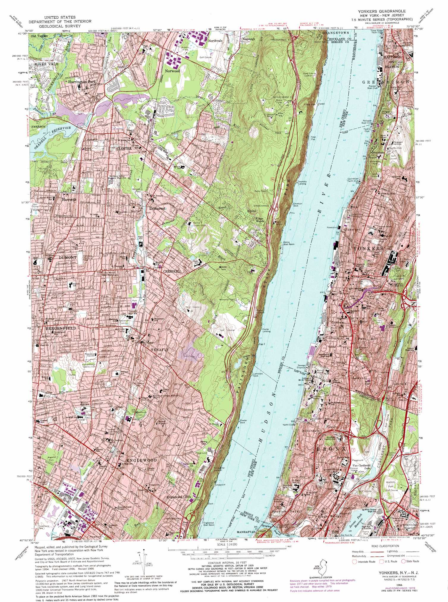 Yonkers topographic map NJ NY USGS Topo Quad 40073h8
