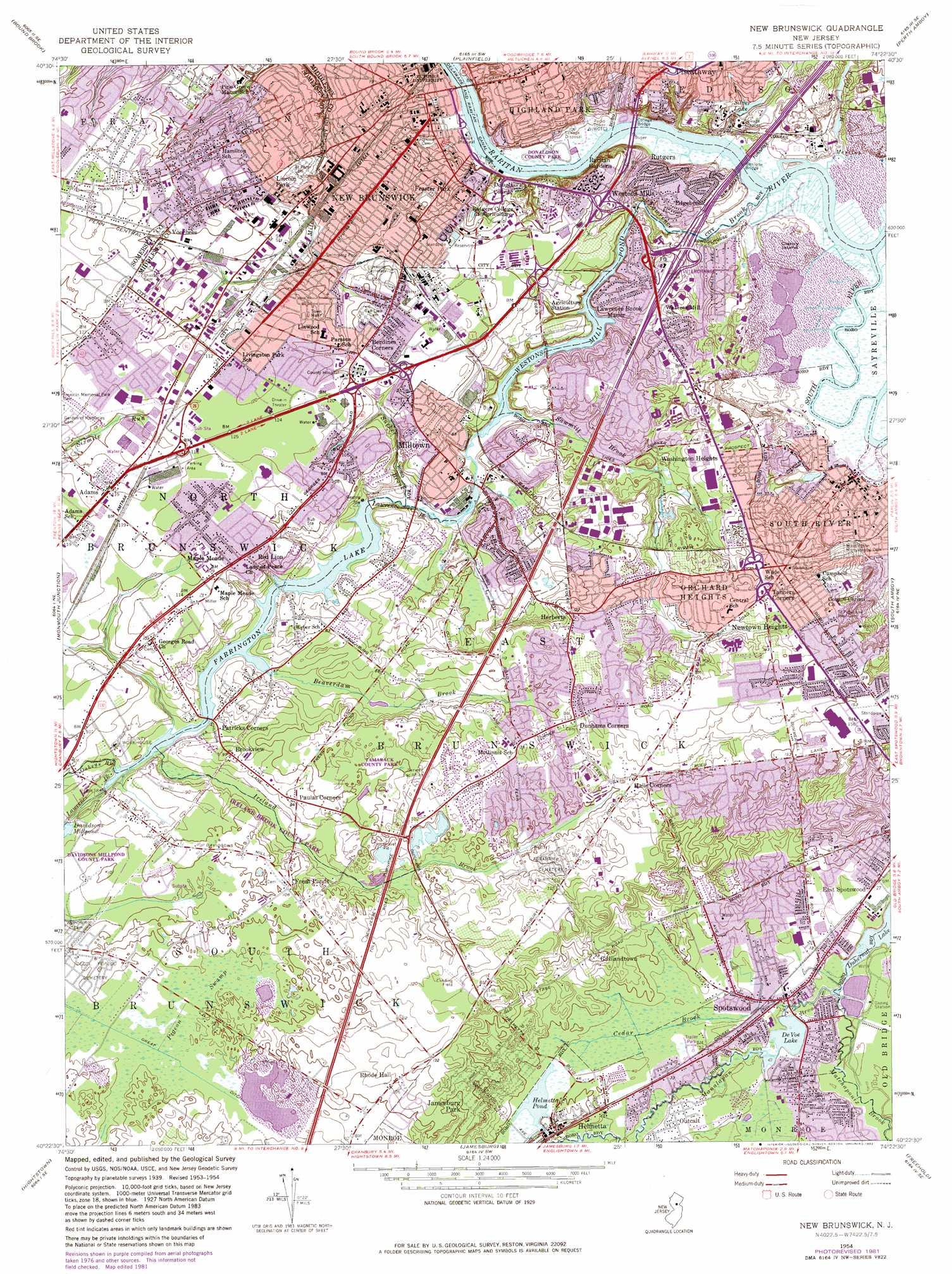 New Brunswick Topographic Map Nj Usgs Topo Quad 40074d4