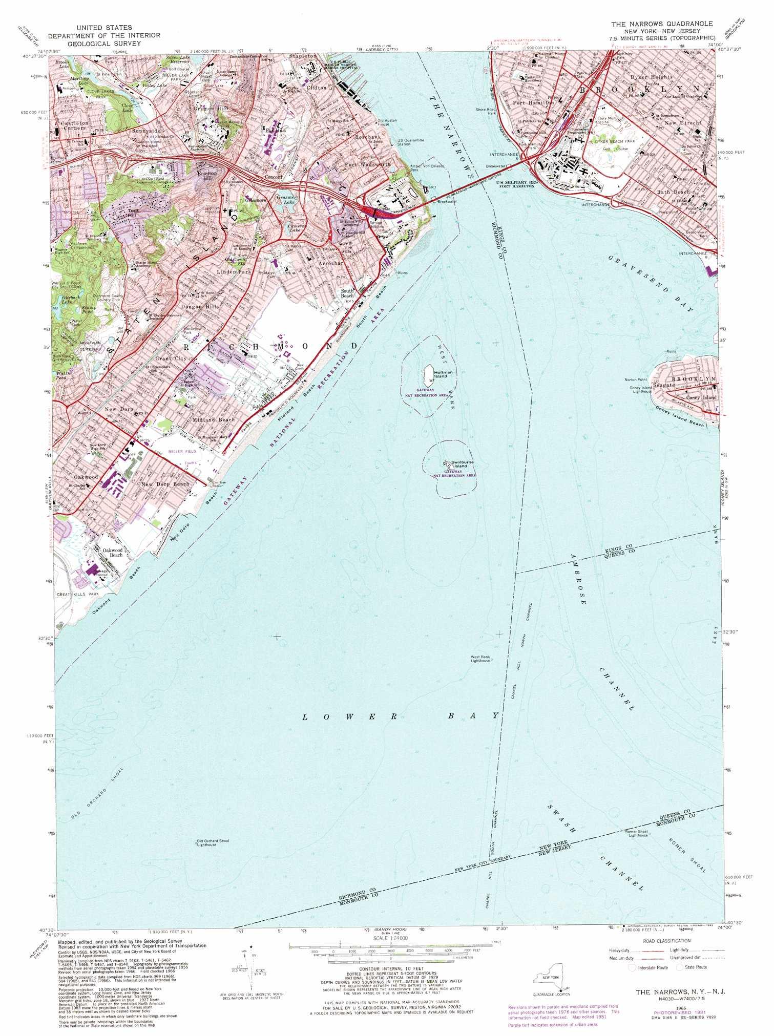 The Narrows Topographic Map Ny Nj Usgs Topo Quad 40074e1