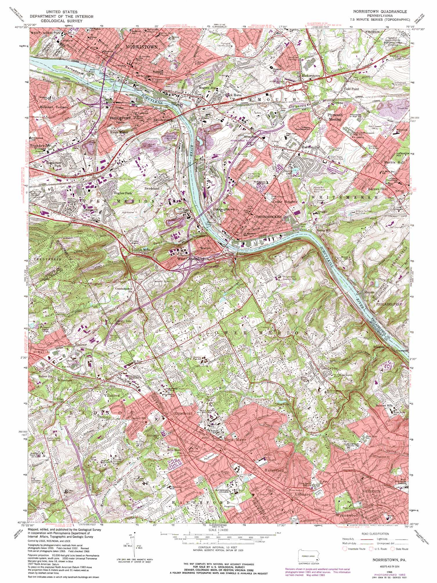Norristown topographic map PA USGS Topo Quad 40075a3