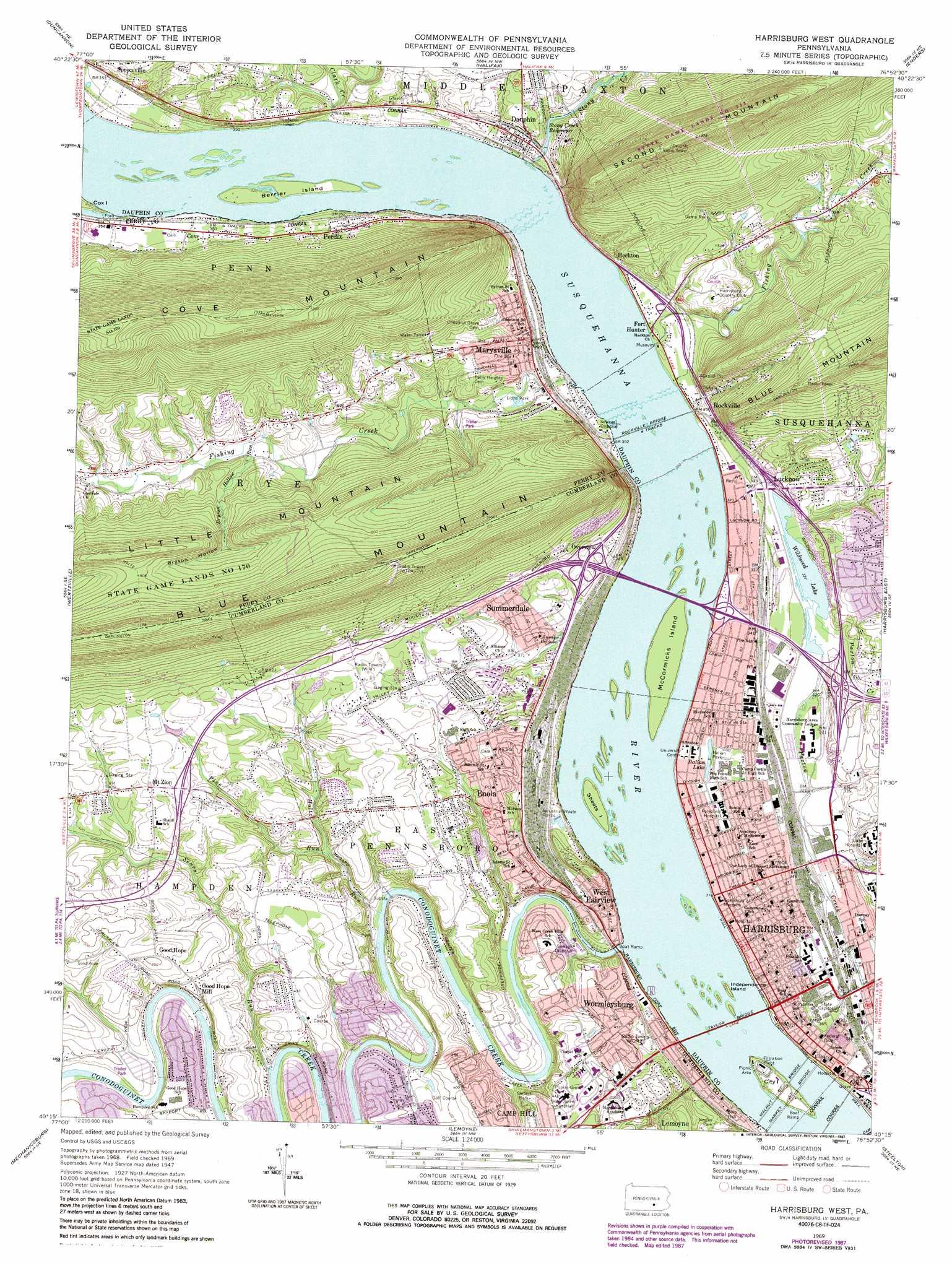 Harrisburg West Topographic Map Pa Usgs Topo Quad 40076c8