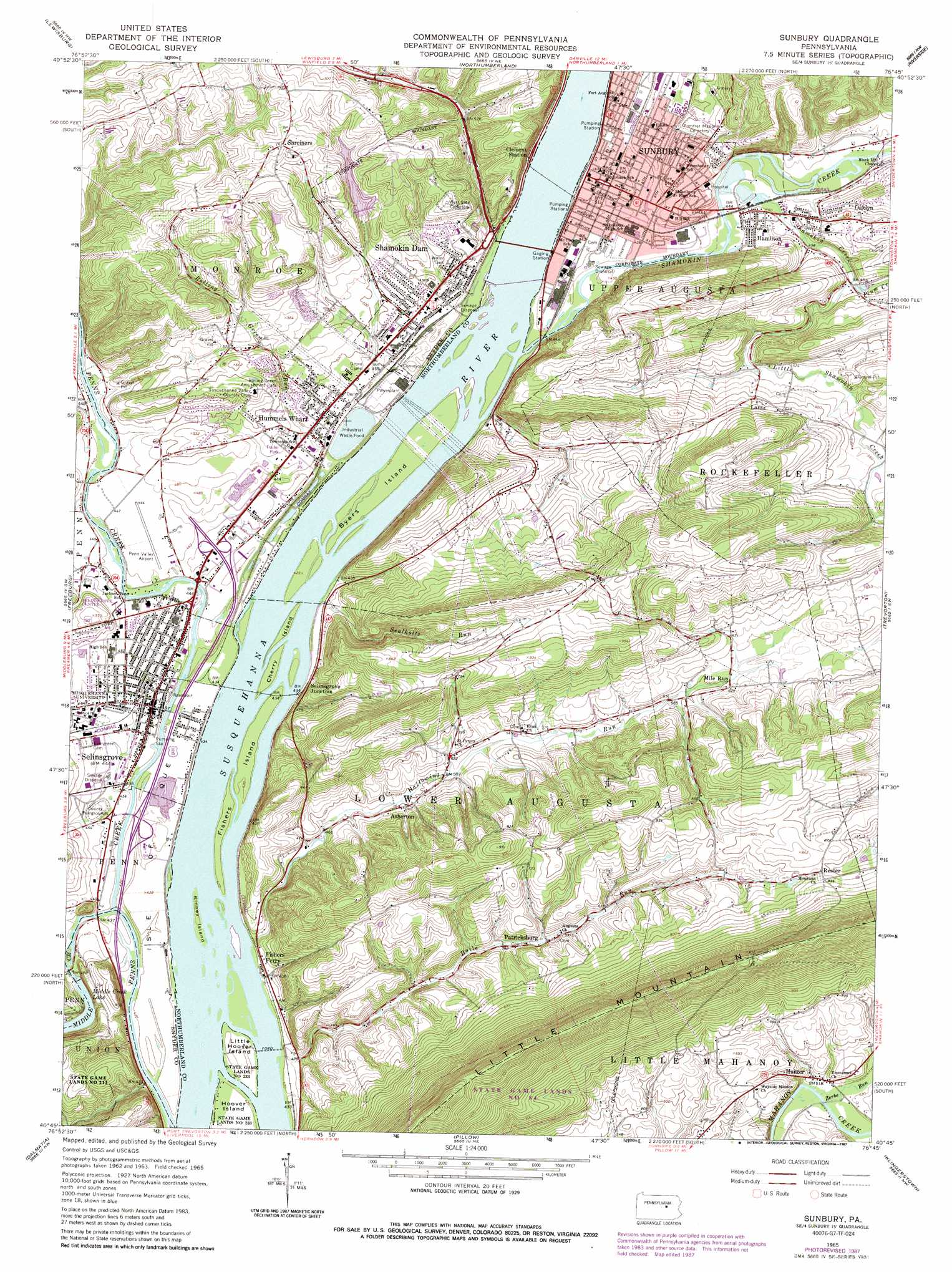 Sunbury topographic map PA USGS Topo Quad 40076g7