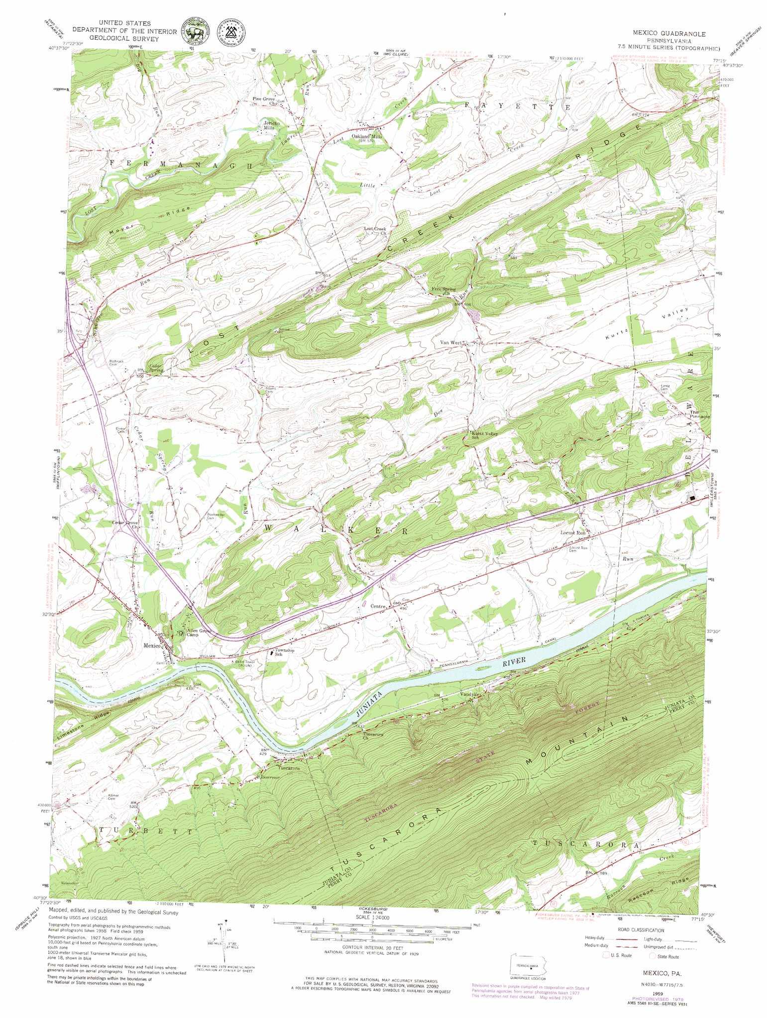 Mexico topographic map, PA - USGS Topo Quad 40077e3