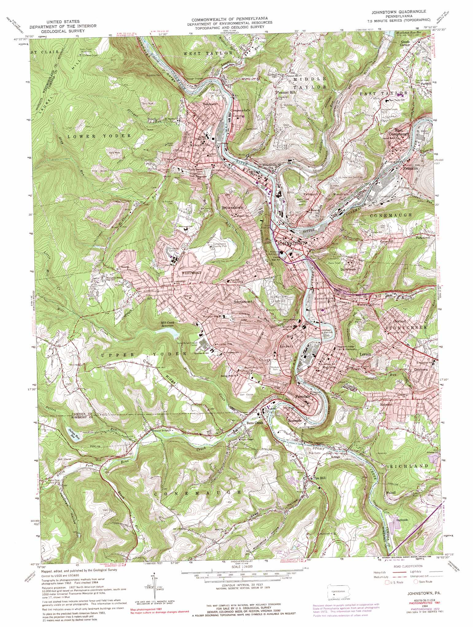 Johnstown Topographic Map PA USGS Topo Quad C - Topographical map of pa