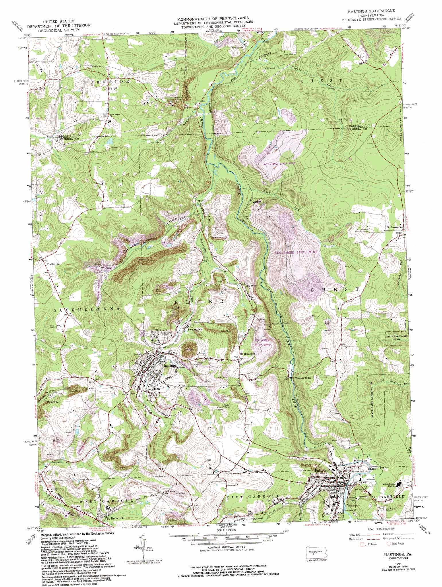 Hastings topographic map, PA - USGS Topo Quad 40078f6 on