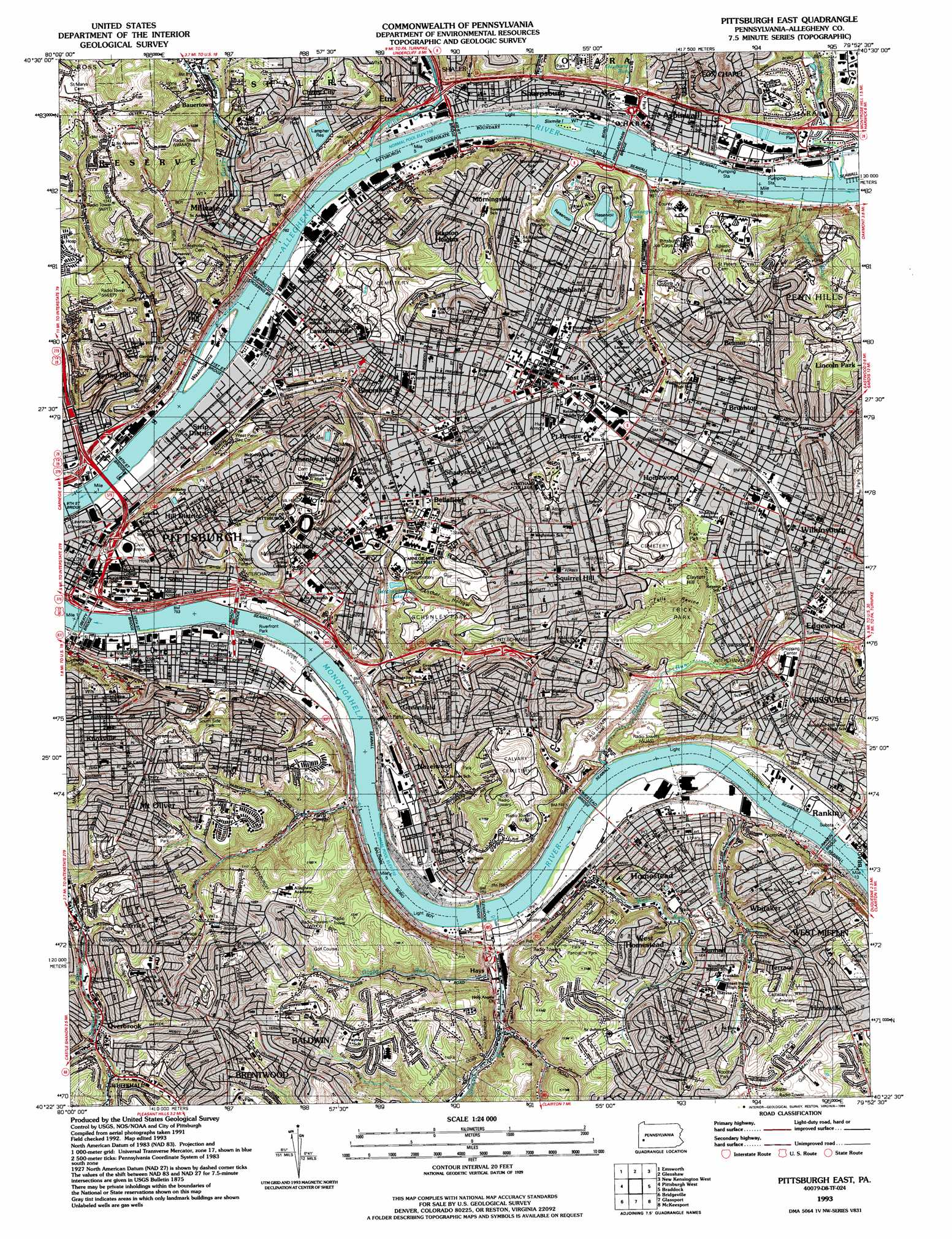 Pittsburgh East Topographic Map PA USGS Topo Quad D - Us map pittsburgh