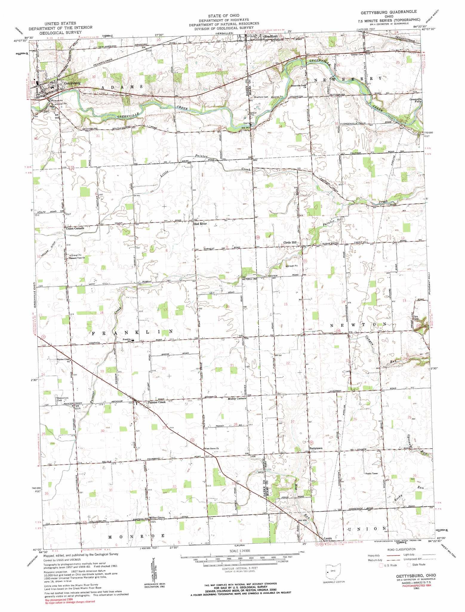 Gettysburg Topographic Map.Gettysburg Topographic Map Oh Usgs Topo Quad 40084a4