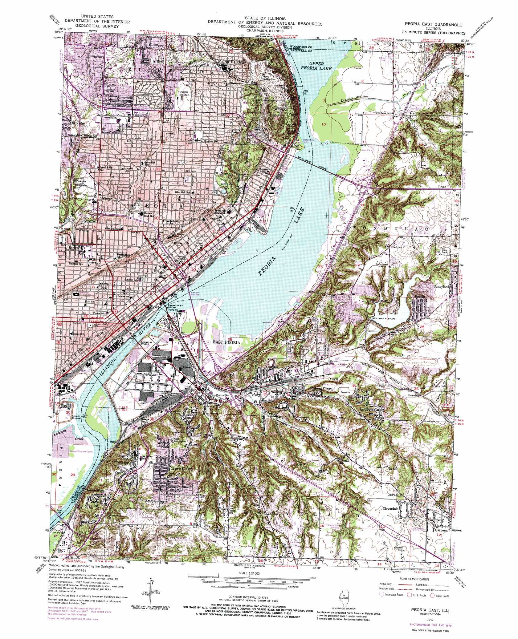 Peoria East Topographic Map IL  USGS Topo Quad 40089f5