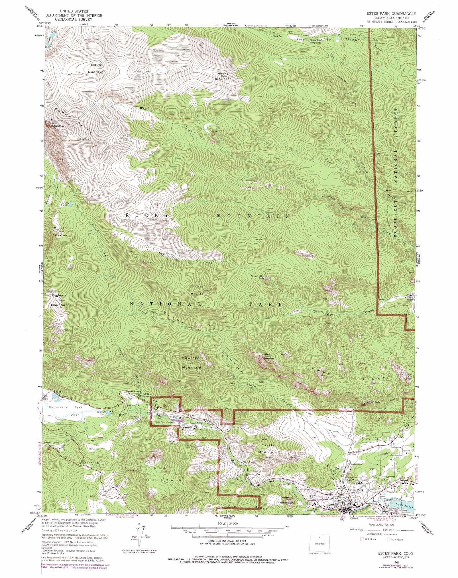Estes Park Topographic Map CO  USGS Topo Quad 40105d5