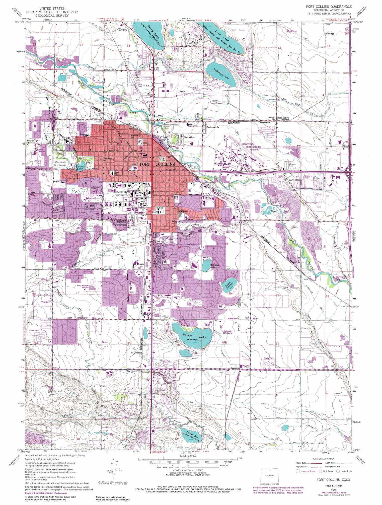 Fort Collins topographic map CO USGS Topo Quad 40105e1