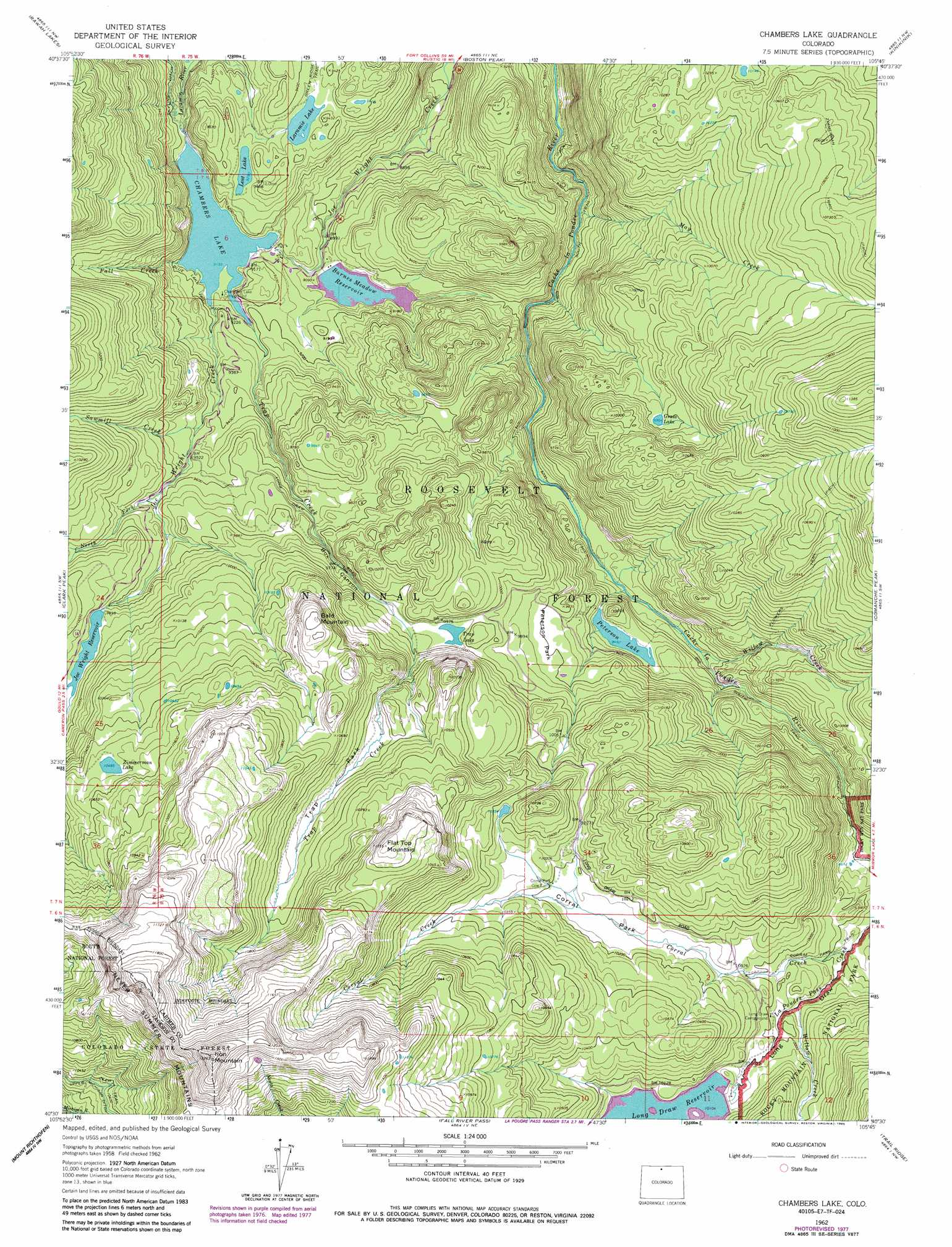 Chambers lake topographic map co usgs topo quad 40105e7 for Colorado fishing map