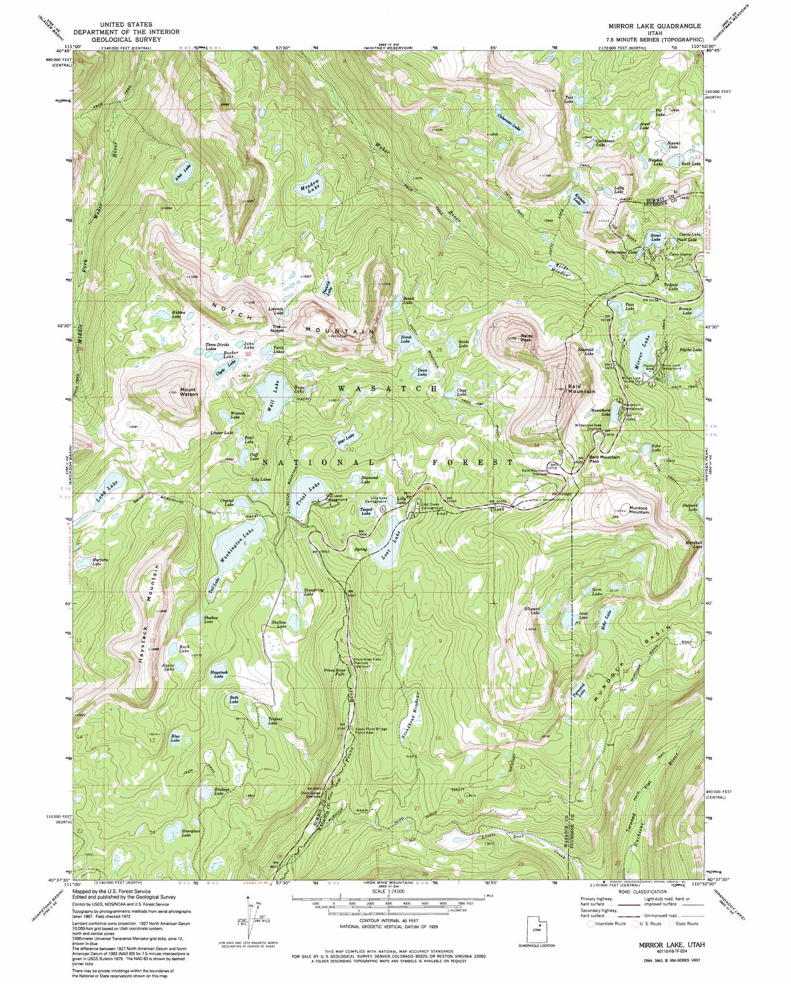 Mirror Lake Topographic Map UT USGS Topo Quad F - Us forest service topo maps