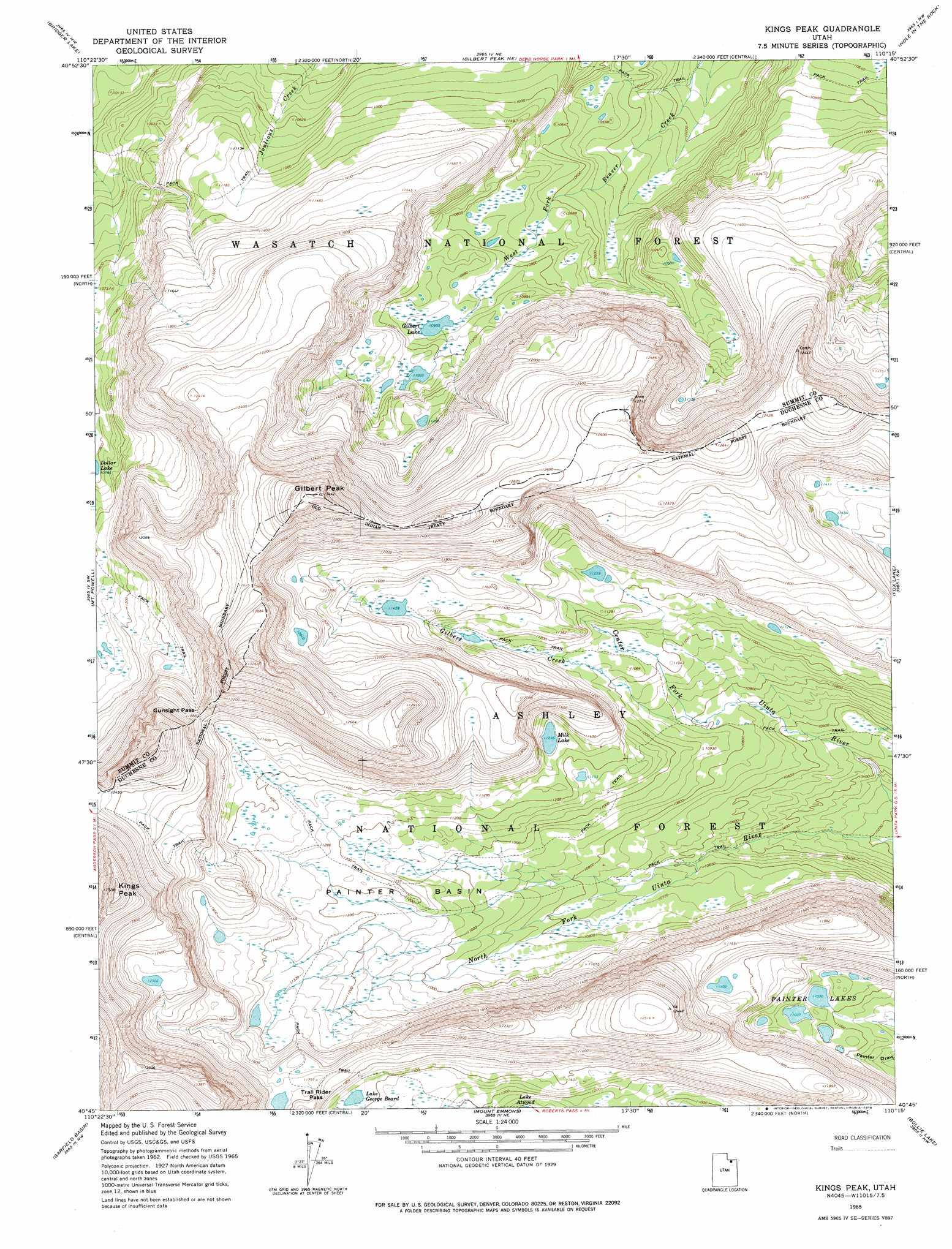 Kings Peak Topographic Map UT USGS Topo Quad G - Topographic map of utah