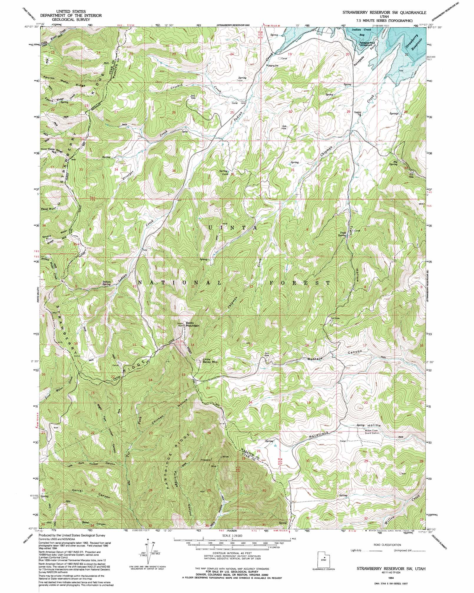Strawberry Reservoir Sw topographic map UT USGS Topo Quad 40111a2