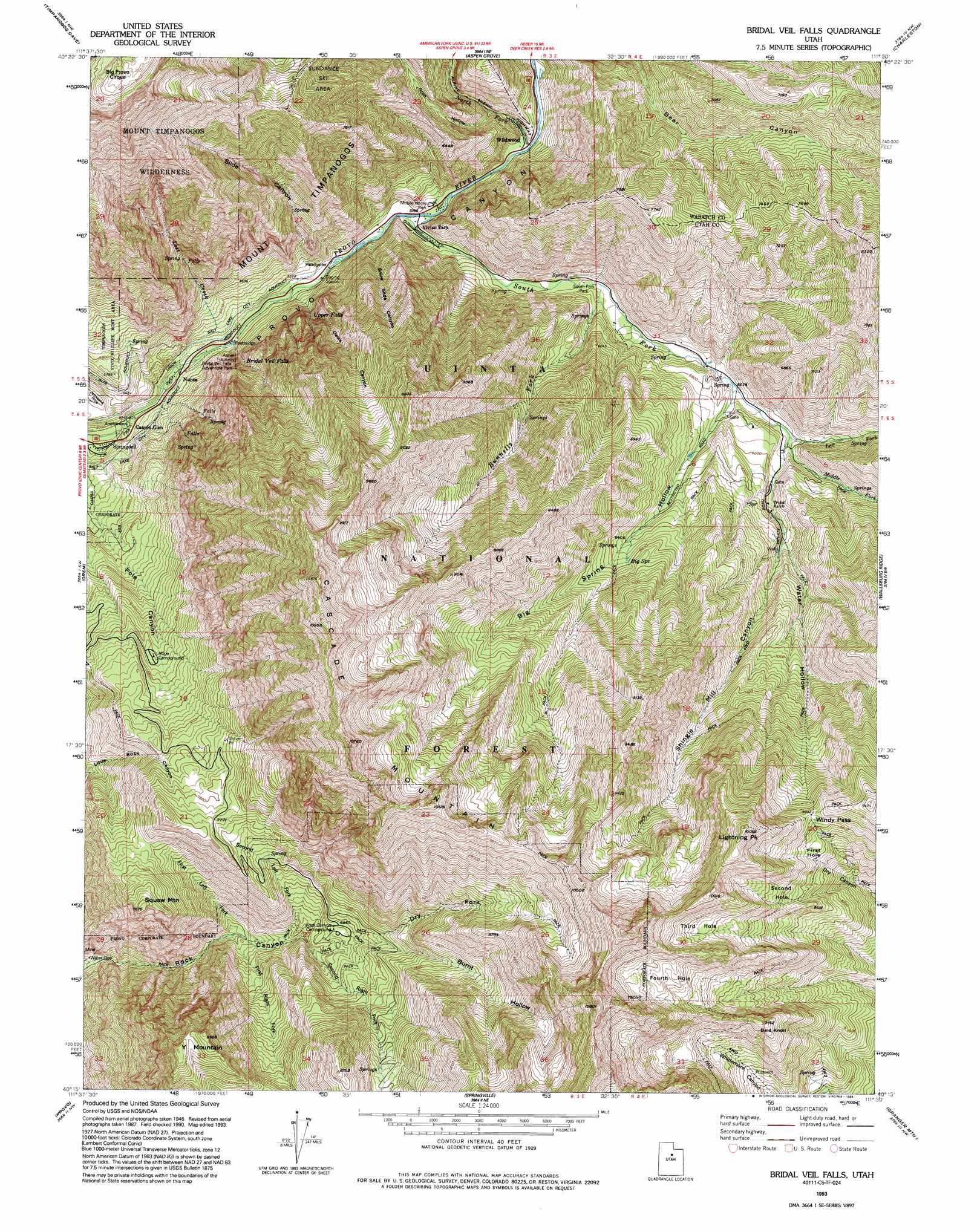 Bridal Veil Falls topographic map UT USGS Topo Quad 40111c5