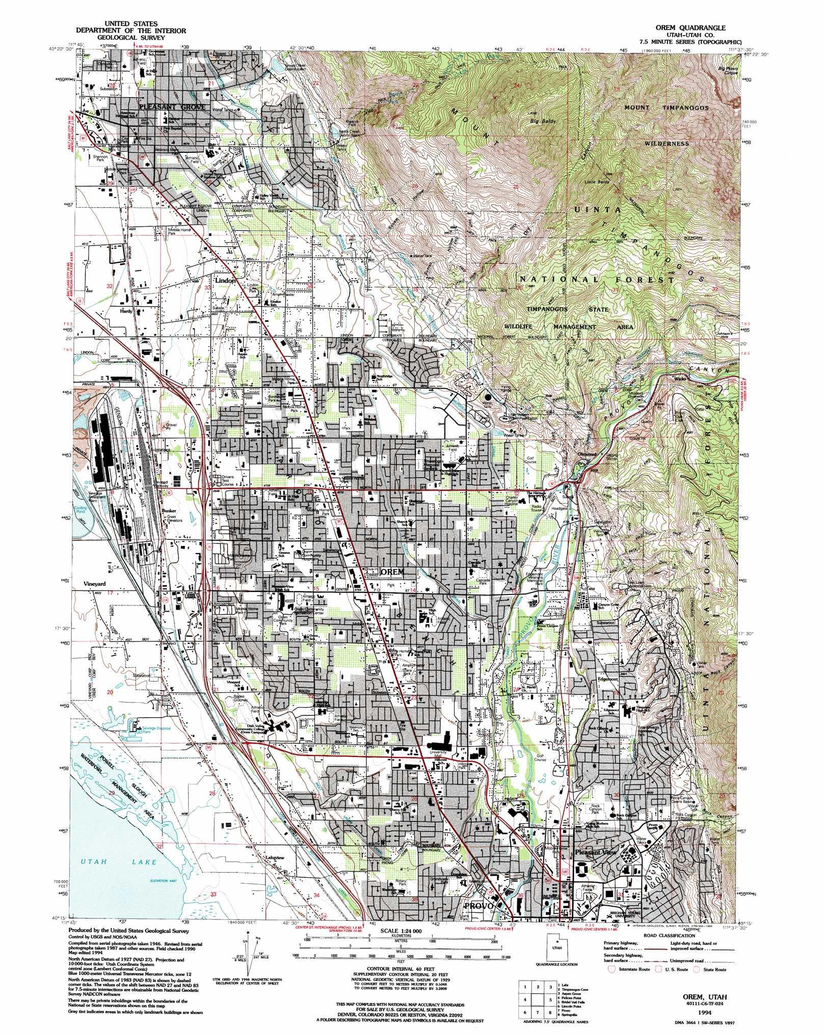 Orem topographic map UT USGS Topo Quad 40111c6