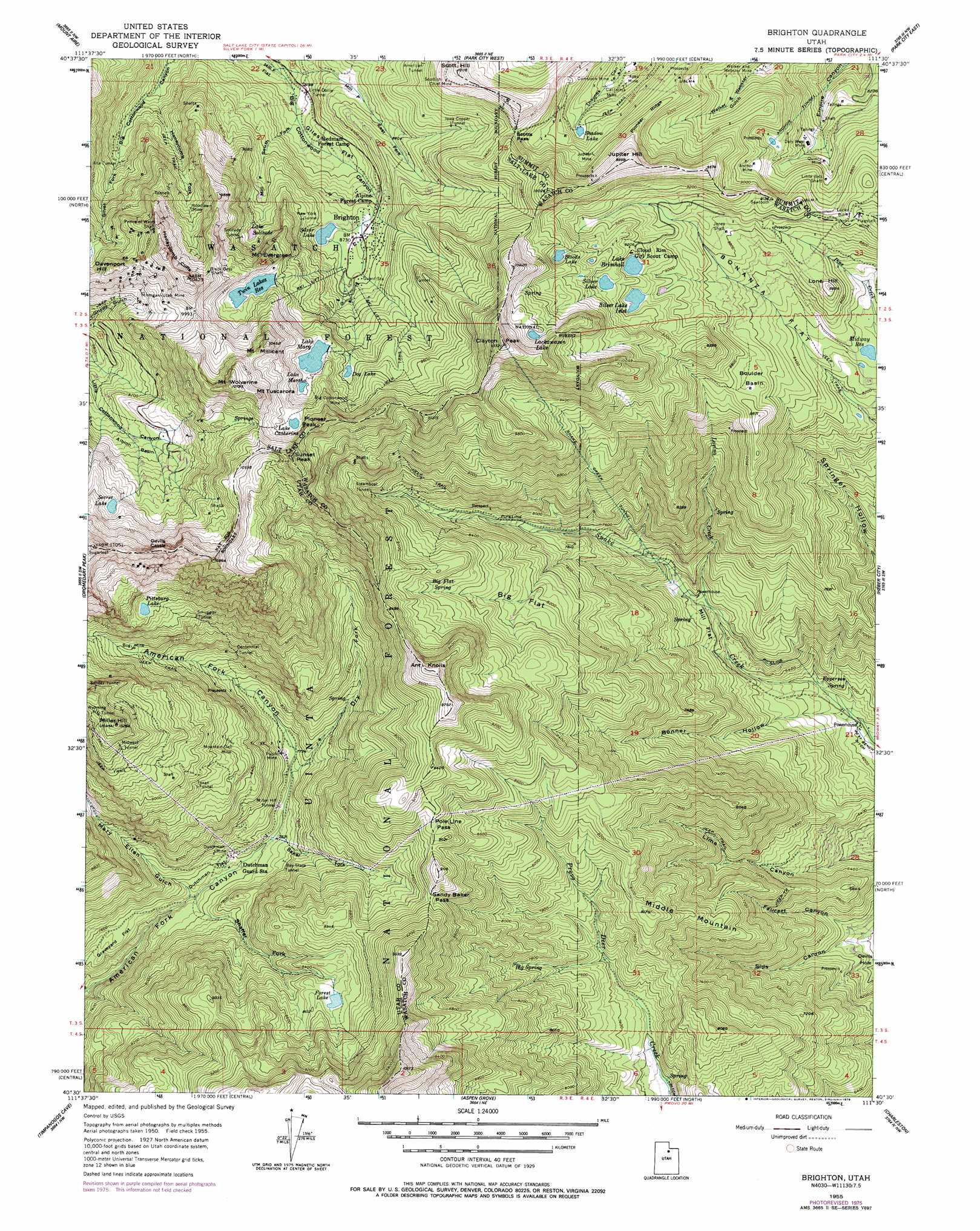 Brighton Topographic Map UT USGS Topo Quad E - Brighton utah us map