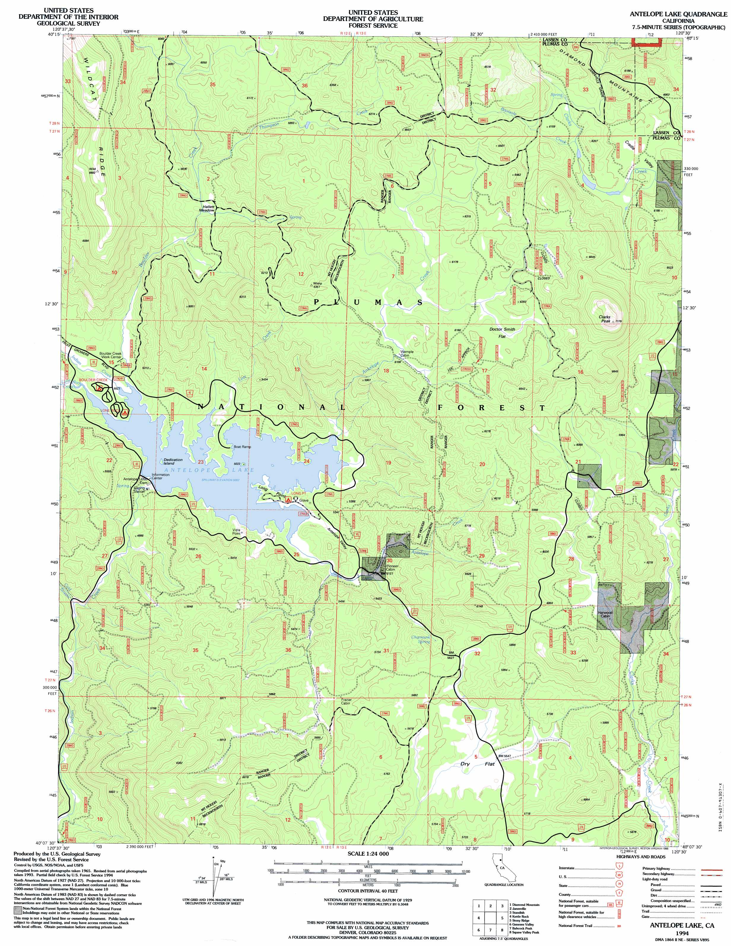 Antelope Lake Topographic Map CA USGS Topo Quad B - Us forest service topographic maps