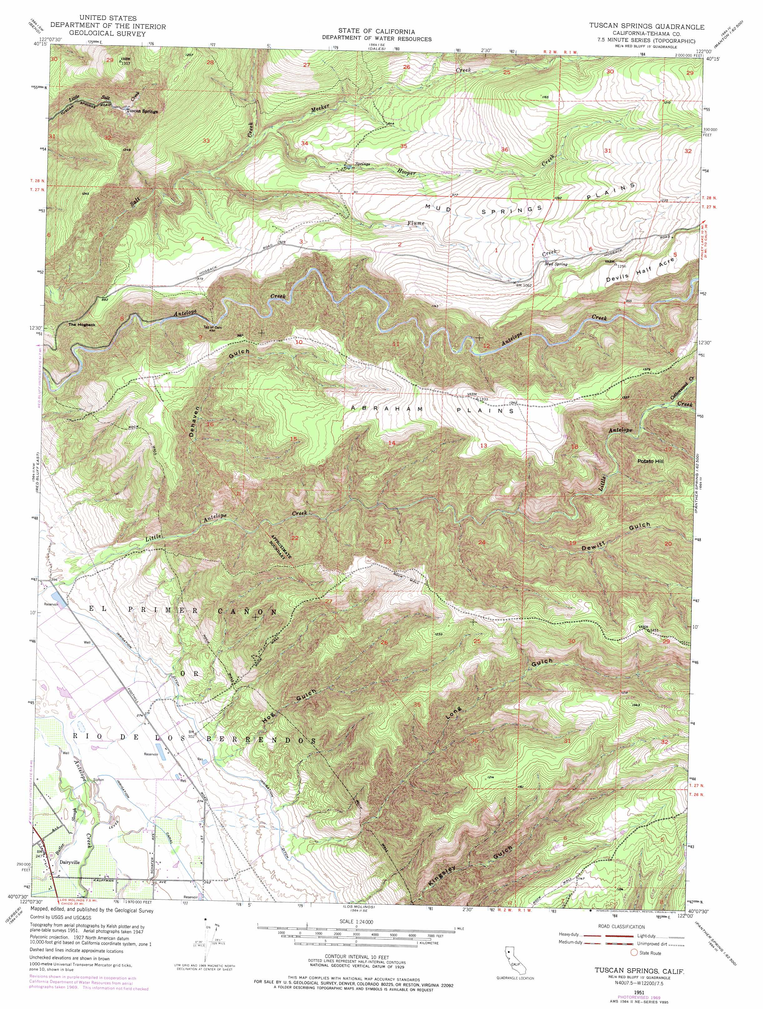 Tuscan Springs Topographic Map CA USGS Topo Quad B - Printable map of tuscany